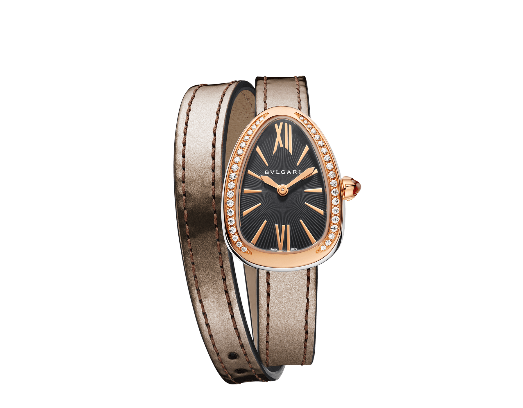 Serpenti watch with stainless steel case, 18 kt rose gold bezel set with diamonds, grey lacquered dial and interchangeable double spiral bracelet in antique bronze brushed metallic calf leather. 102968 image 1