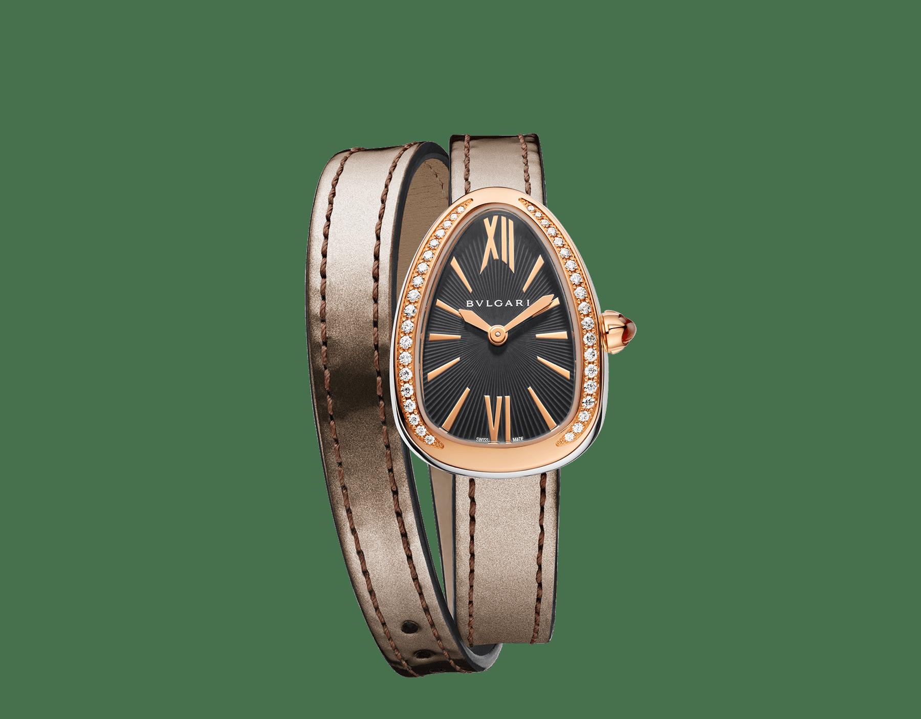 Relógio Serpenti com caixa em aço inoxidável, bezel em ouro rosa 18 K cravejado com diamantes, mostrador laqueado cinza e pulseira de duas voltas intercambiável em couro de novilho bronze antigo metálico escovado. 102968 image 1