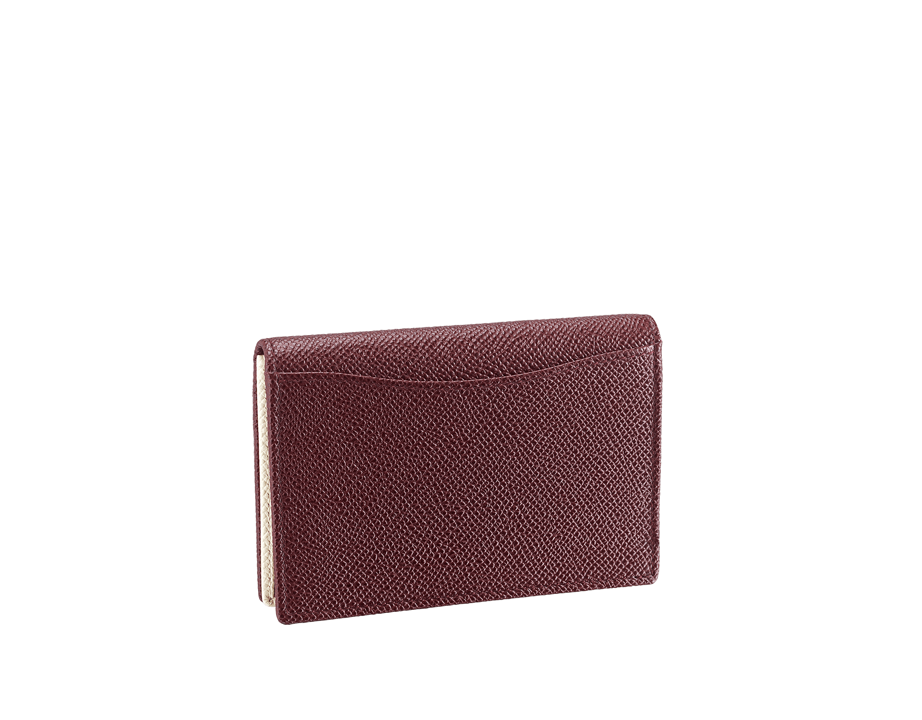 """""""BVLGARI BVLGARI"""" men's business card holder in Oxblood bordeaux and Ivory Opal white grain calf leather. Palladium-plated brass embellishment with logo. 291149 image 3"""