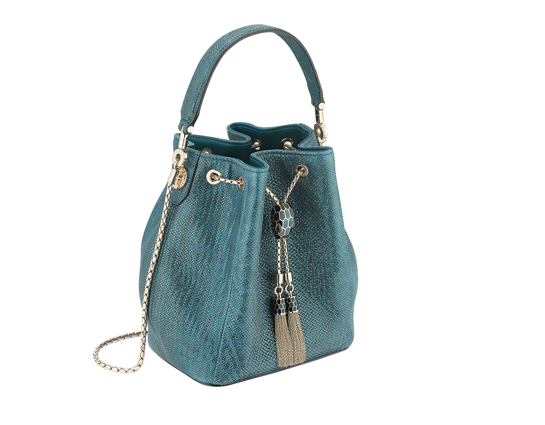 Bucket Serpenti Forever in deep jade metallic karung skin and deep jade nappa internal lining. Hardware in light gold plated brass and snakehead closure in black and glitter deep jade enamel, with eyes in black onyx. 287950 image 2