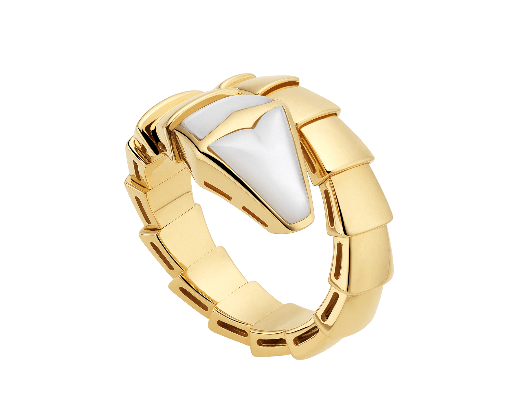 Serpenti one-coil ring in 18 kt yellow gold, set with mother-of-pearl on the head. AN855765 image 1
