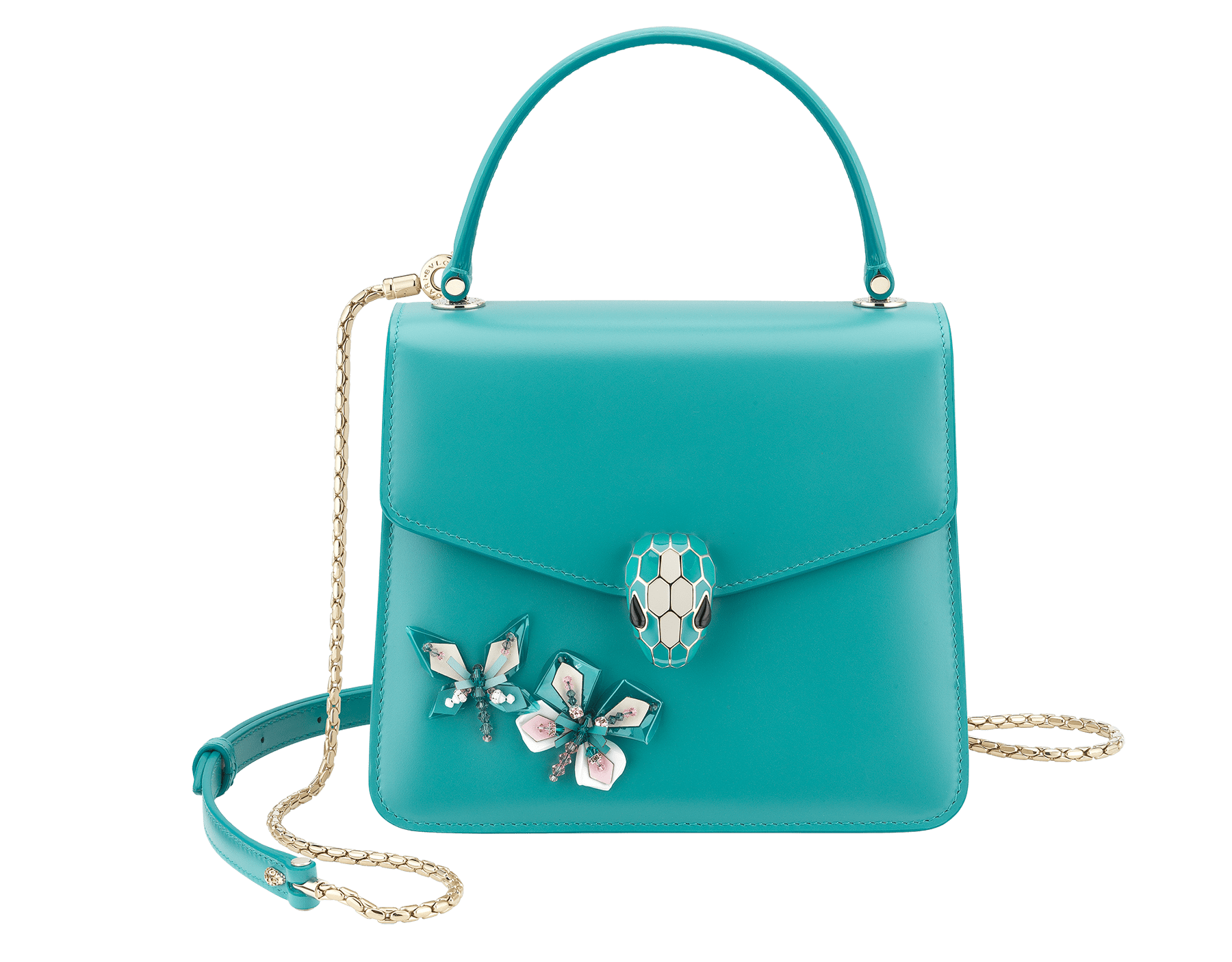 """""""Serpenti Forever """" crossbody bag in arctic jade calf leather with two arctic jade butterflies embroidered. Iconic snakehead closure in light gold plated brass enriched with arctic jade and white agate enamel and black onyx eyes. 289249 image 1"""
