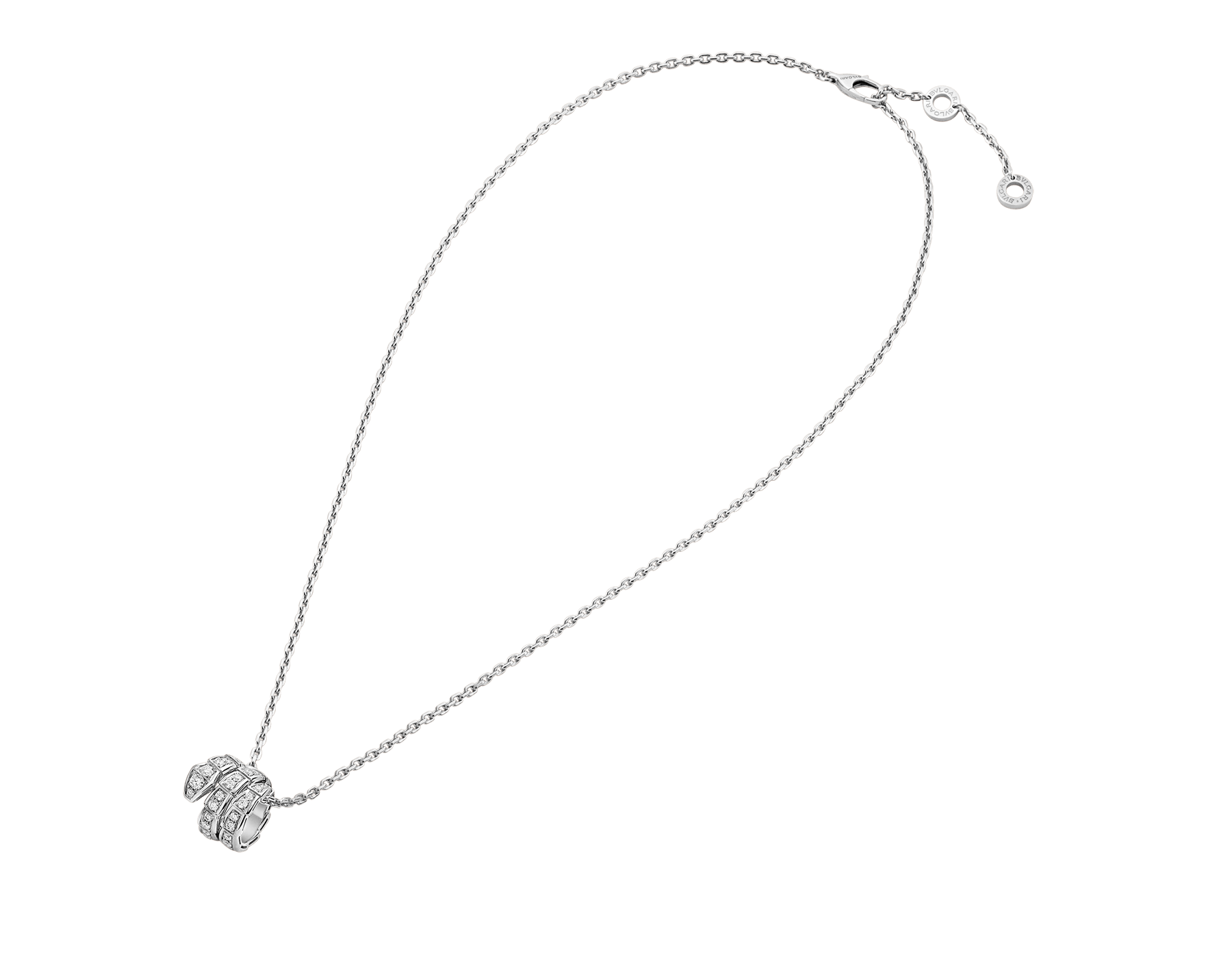Serpenti Viper pendant necklace in 18 kt white gold set with pavé diamonds 357796 image 2