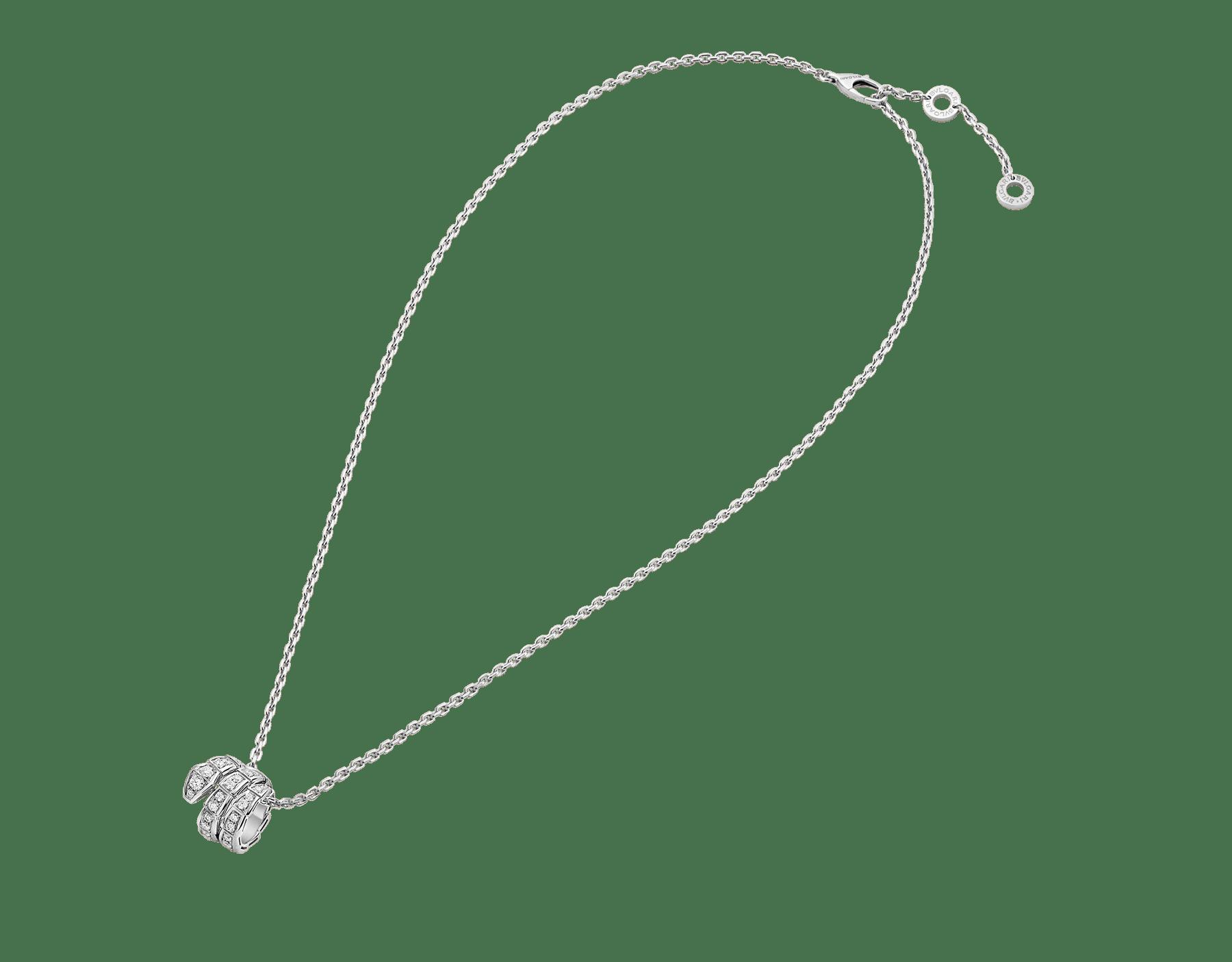 Collana con pendente Serpenti Viper in oro bianco 18 kt con pavé di diamanti. 357796 image 2