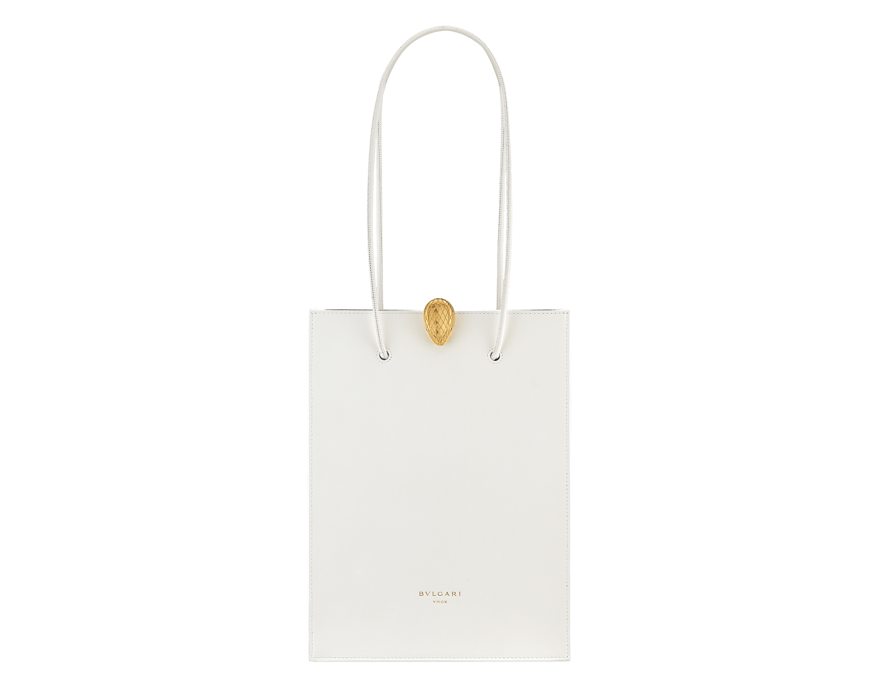 Alexander Wang x Bvlgari shopping tote bag in smooth white calf leather. New Serpenti head closure in antique gold plated brass with tempting red enamel eyes. Limited edition. 288730 image 1