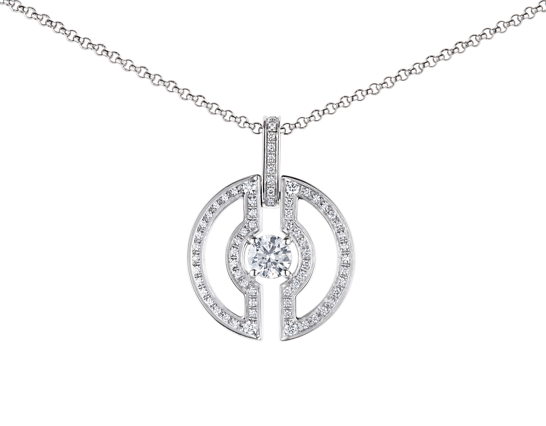 Parentesi necklace with 18 kt white gold chain and pendant, set with a central diamond and pavé diamonds on the edges. 354313 image 4