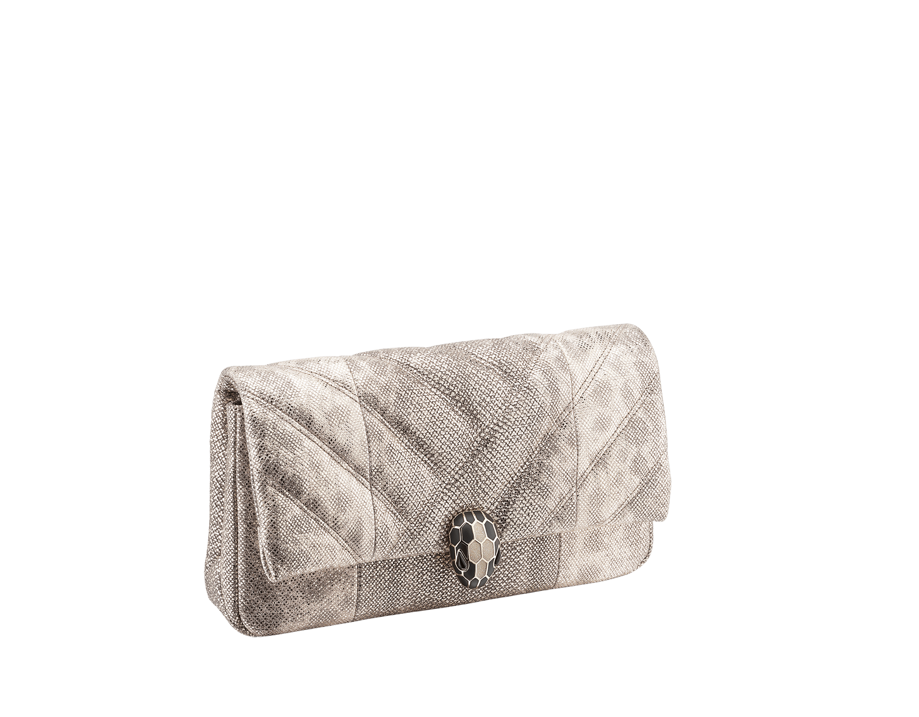 Serpenti Cabochon clutch bag in milky opal metallic karung skin, with a graphic motif. Brass light gold plated tempting snake head closure in black and glitter milky opal enamel and black onyx eyes. 1025-MK image 2