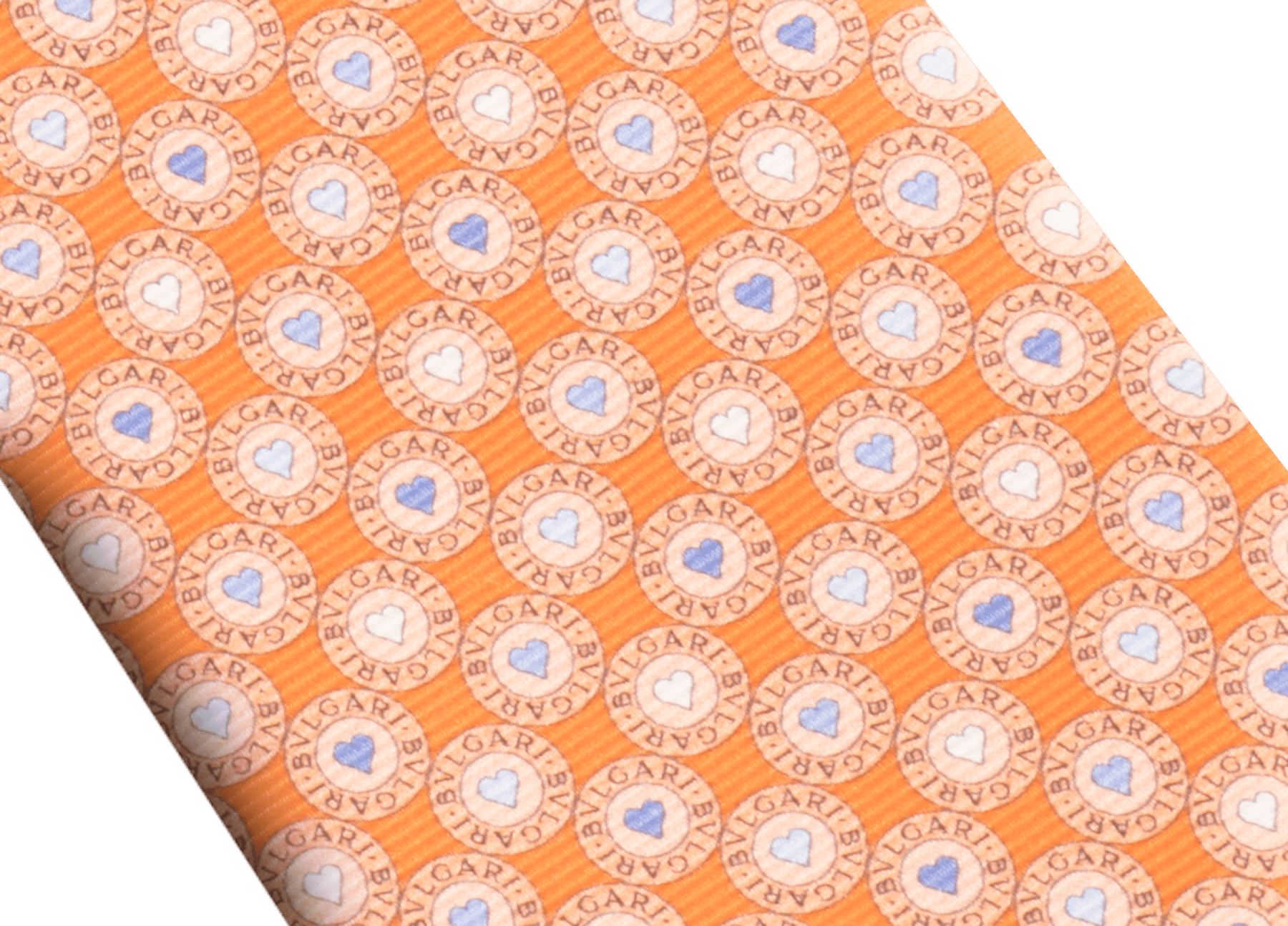 "Orange ""BB Heart Logo"" seven-fold tie in fine, printed saglione silk. 244623 image 2"
