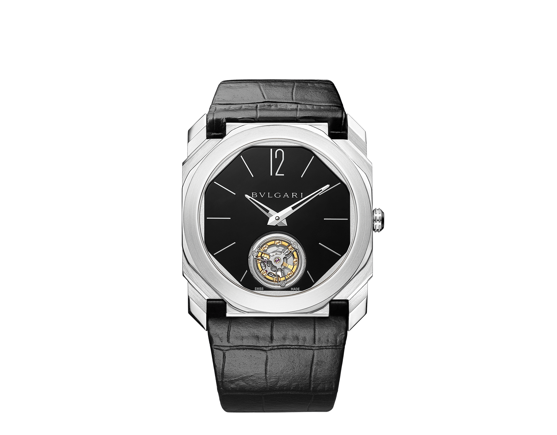 Octo Finissimo Tourbillon watch with extra thin mechanical manufacture movement and manual winding, platinum case, black lacquered dial and black alligator bracelet. 102138 image 1