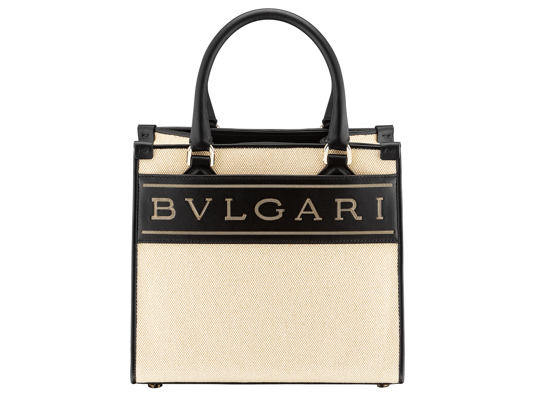 """Bvlgari Logo"" small tote bag in Ivory Opal white canvas, with Beet Amethyst purple grosgrain inner lining. Bvlgari logo featured with light gold-plated brass chain inserts on the Ivory Opal white calf leather. BVL-1159-CC image 1"