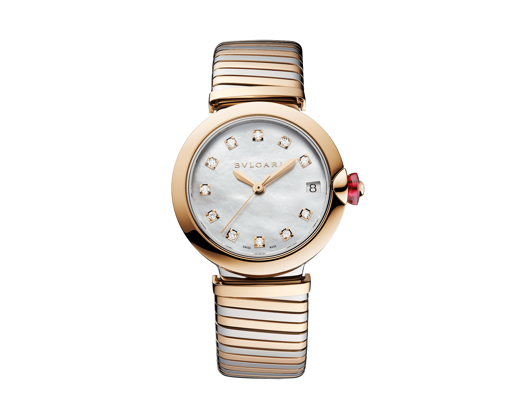 LVCEA Tubogas watch in 18 kt rose gold and stainless steel case and tubogas bracelet, with white mother-of-pearl dial and diamond indexes 102954 image 1