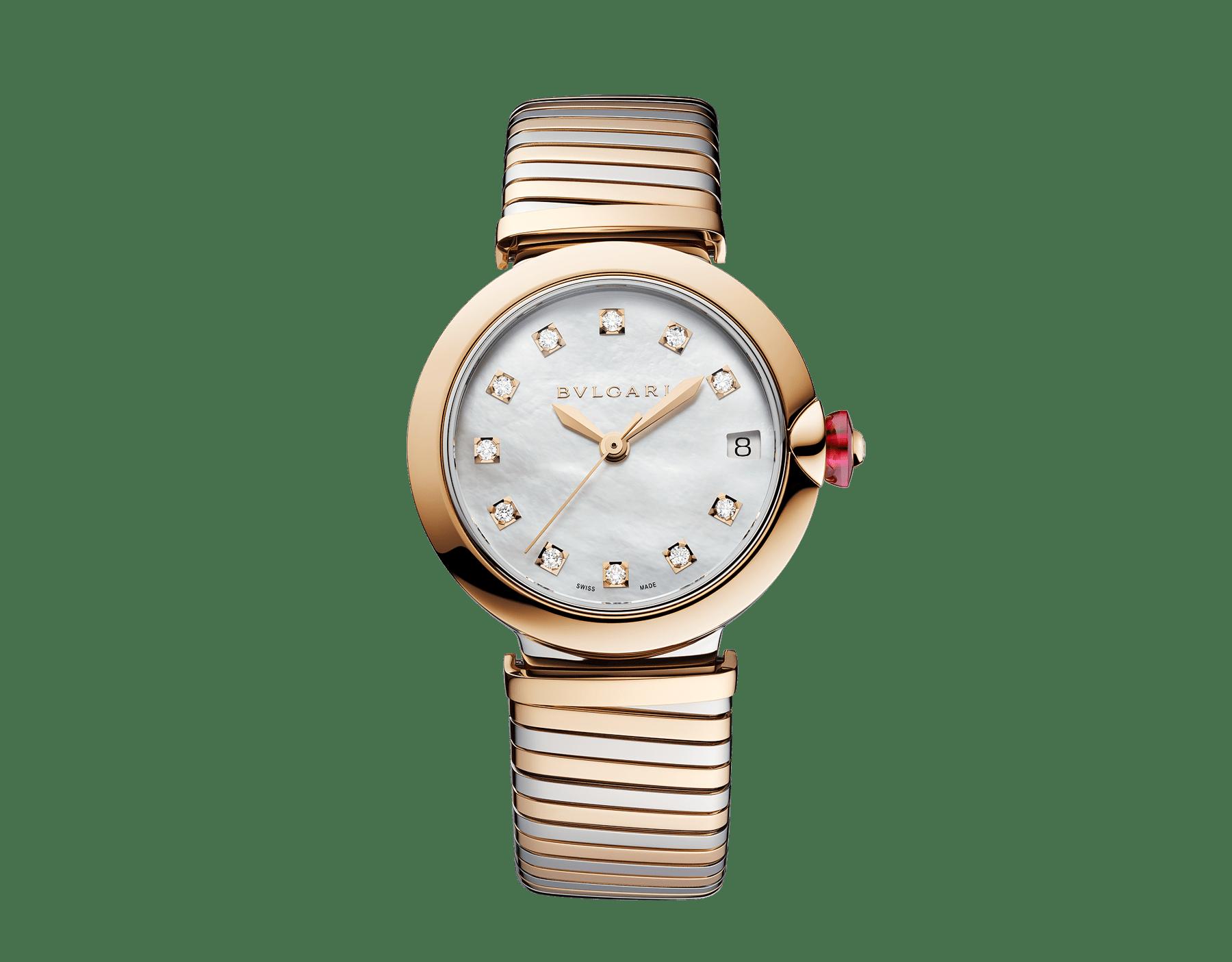 LVCEA Tubogas Uhr mit Gehäuse und Tubogas-Armband aus 18 Karat Roségold und Edelstahl, weißem Perlmuttzifferblatt und Diamantindizes 102954 image 1
