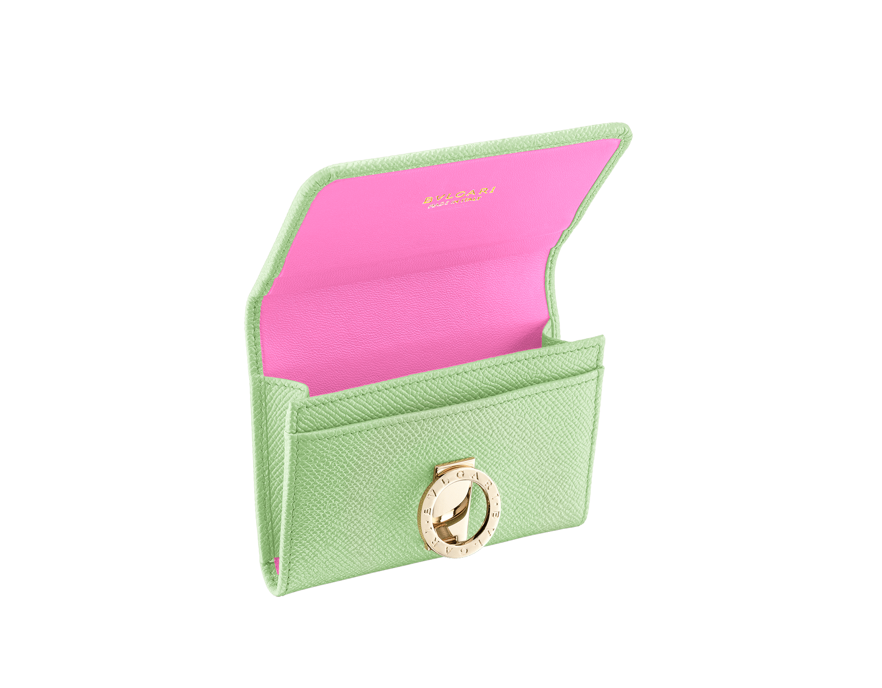 """""""BVLGARI BVLGARI"""" business card holder in mint bright grain calf leather and taffy quartz nappa leather. Iconic logo clip closure in light gold plated brass. 579-BC-HOLDER-BGCLc image 2"""