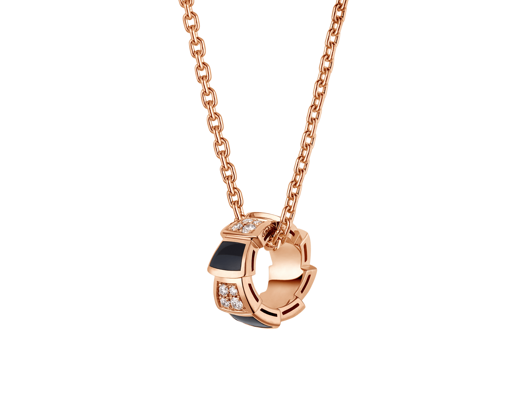 Serpenti Viper 18 kt rose gold necklace set with onyx elements and pavé diamonds (0.21 ct) on the pendant 356554 image 1