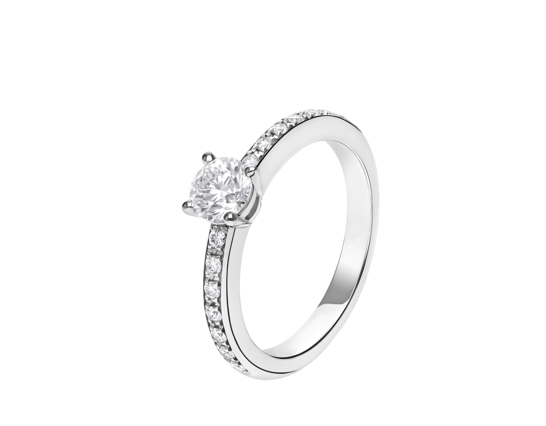 Griffe solitaire ring in platinum with a round brilliant cut diamond and pavé diamonds 340252 image 1