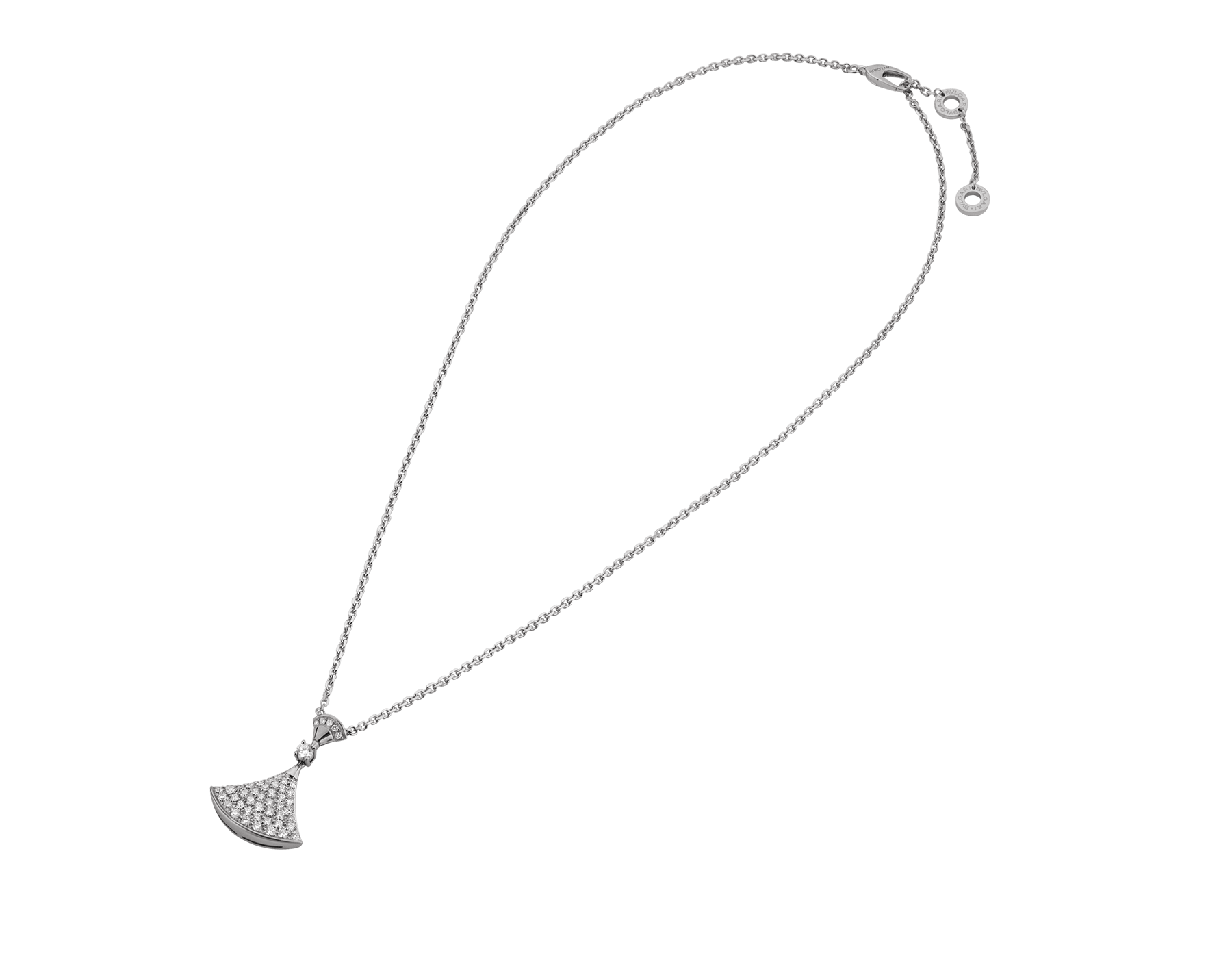 18Kホワイトゴールド製ディーヴァ ドリーム ネックレス。ペンダントトップには、ダイヤモンド1個とパヴェダイヤモンドをあしらいました。 350066 image 2