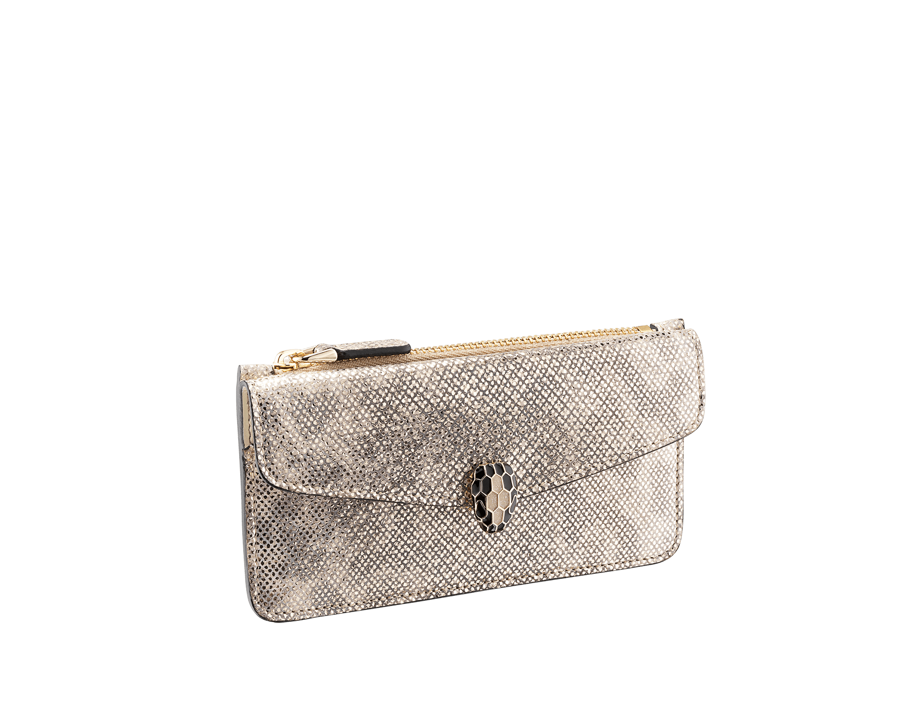 """Serpenti Forever"" card holder in Milky Opal beige metallic karung skin and Milky Opal beige calf leather. Light gold-plated brass iconic snakehead stud closure enameled in black and glittery Milky Opal beige, with black enamel eyes. SEA-CC-HOLDER-ZIP-MK image 1"
