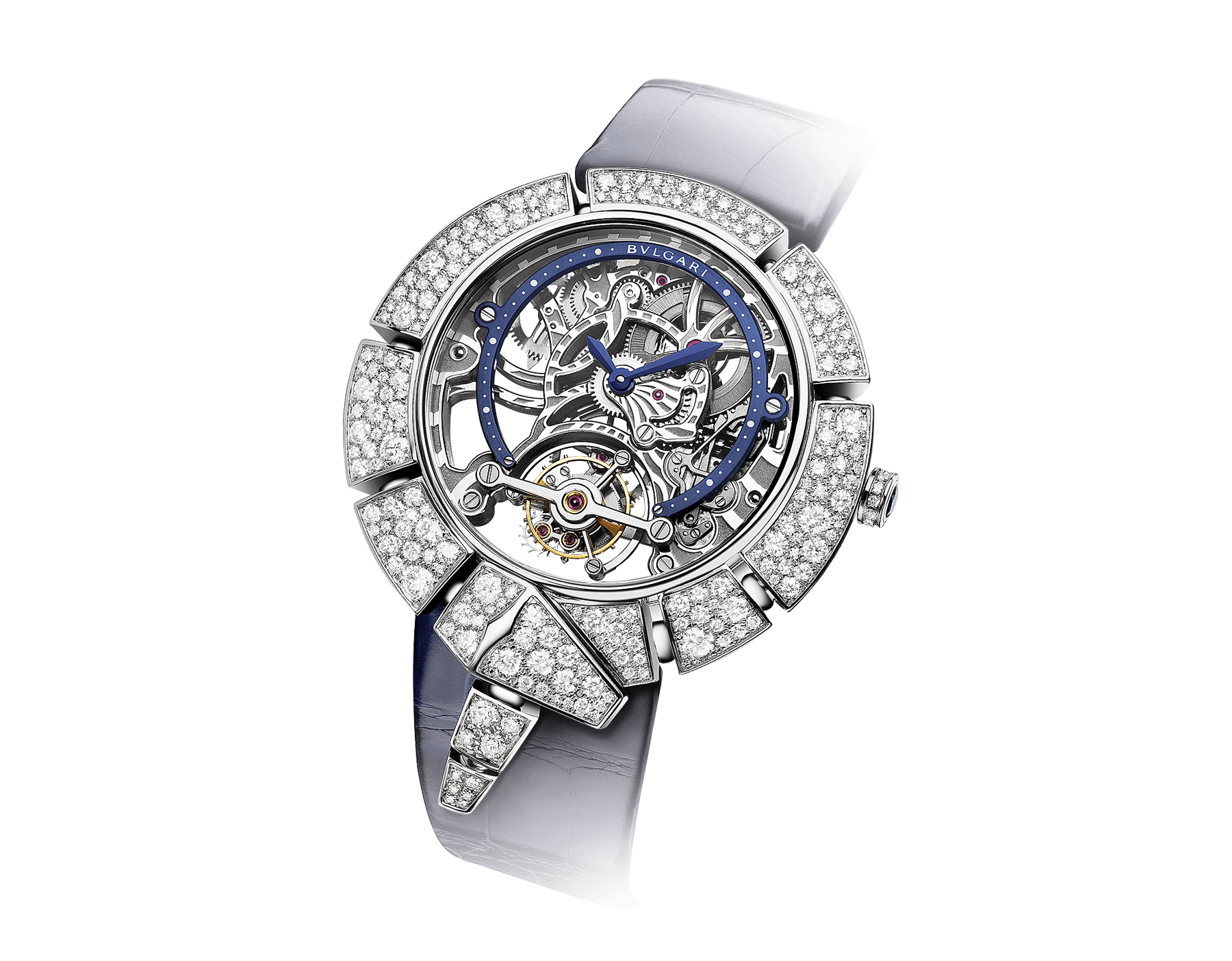 Serpenti Incantati Limited Edition watch with mechanical manufacture skeletonized movement, tourbillon and manual winding. 18 kt white gold case set with brilliant cut diamonds, transparent dial and blue alligator bracelet. 102541 image 2