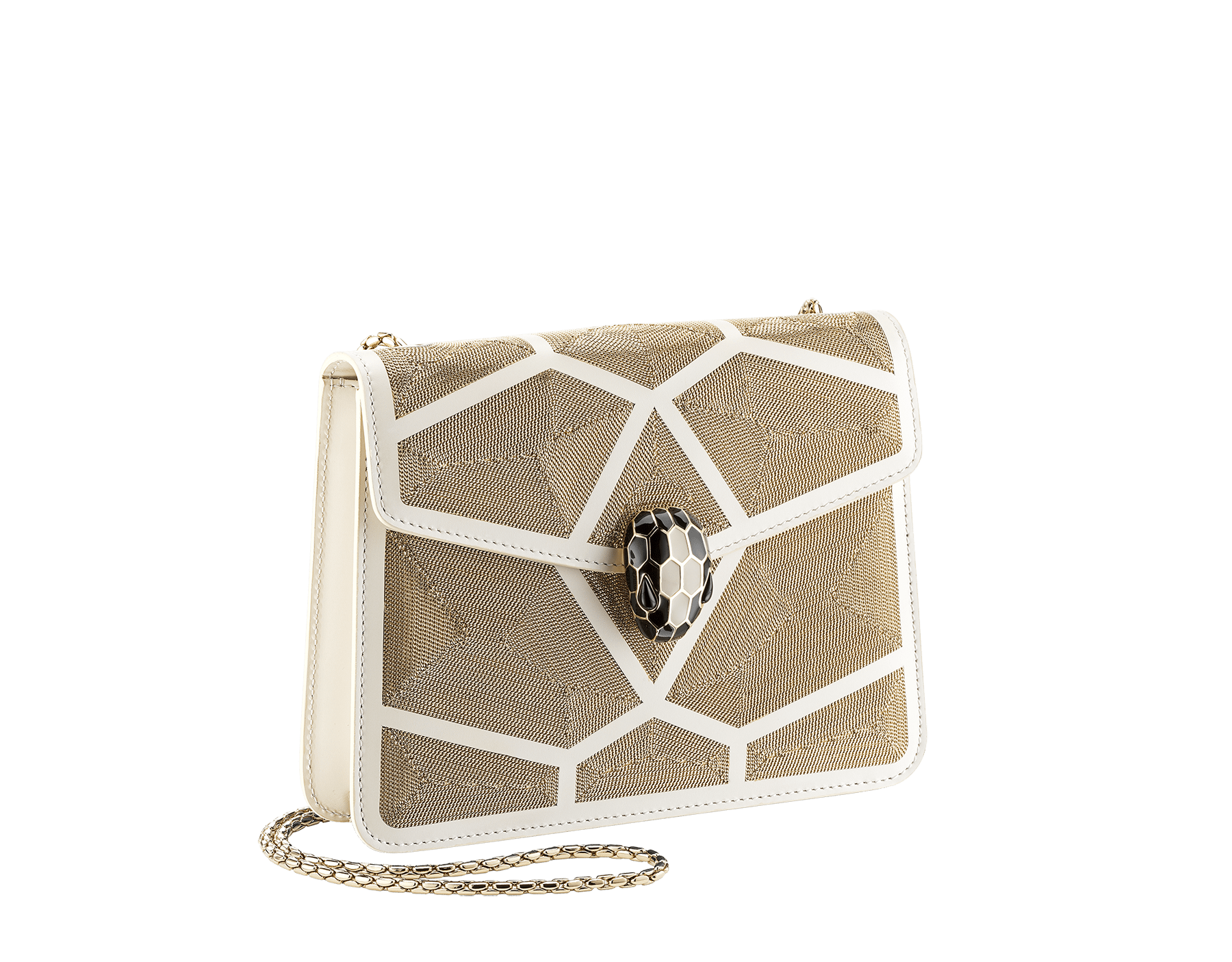 """Serpenti Forever"" crossbody bag in white agate calf leather with ""Million Chain"" décor. Iconic snake head closure in light gold plated brass enriched with black and white agate enamel, and black onyx eyes. 288907 image 2"