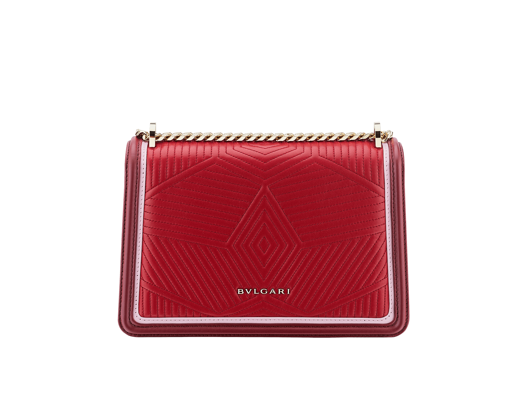 """Serpenti Diamond Blast"" shoulder bag in ruby red quilted calf leather and Roman garnet calf leather frames. Iconic snakehead closure in light gold plated brass enriched with black and rosa di francia enamel and black onyx eyes. 289463 image 3"