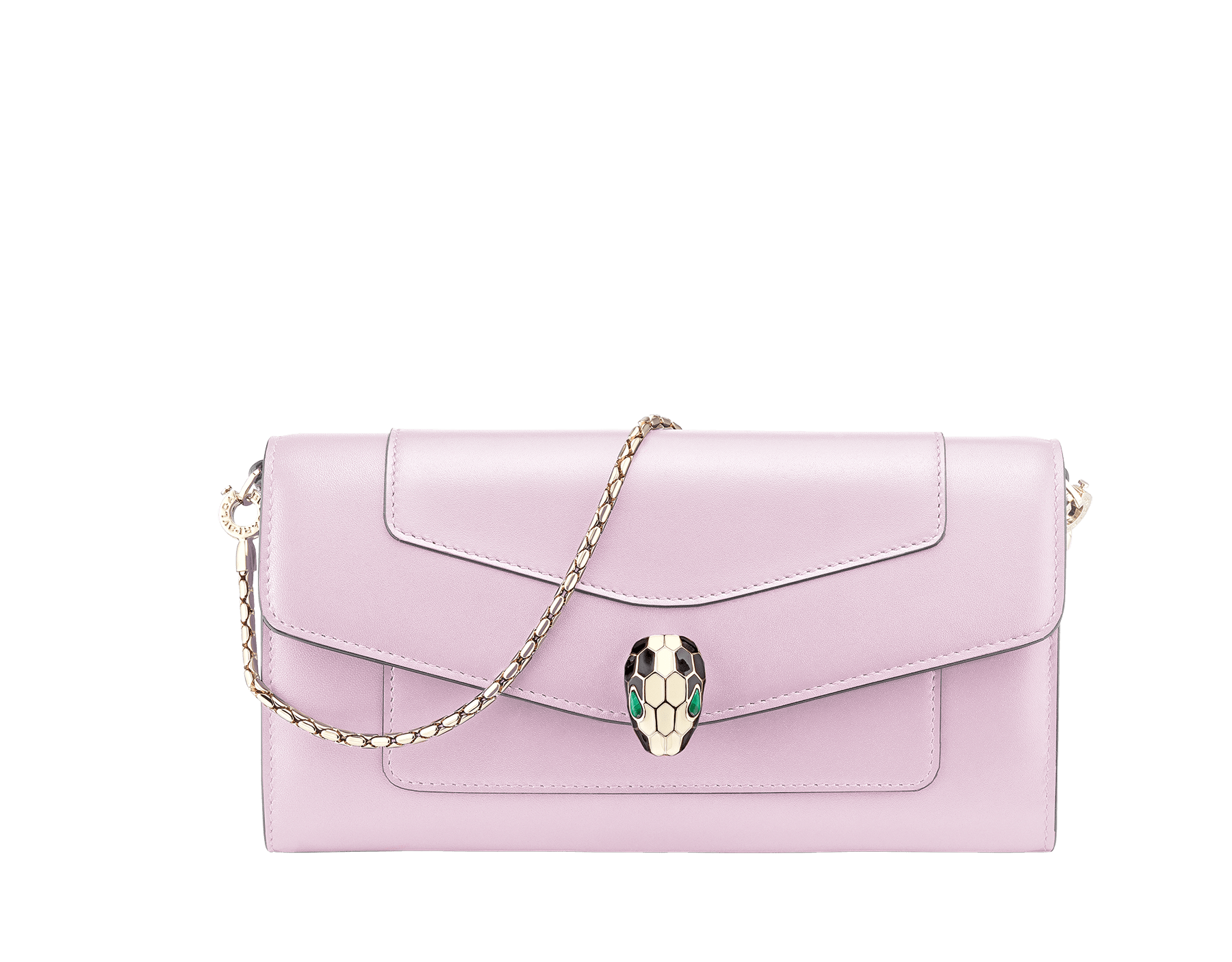 Serpenti Forever wallet pouch in carmine jasper and flash amethyst calf leather. Iconic snakehead stud closure in black and white enamel with green malachite eyes. SEA-WLT-LONGCHAIN-CL image 1