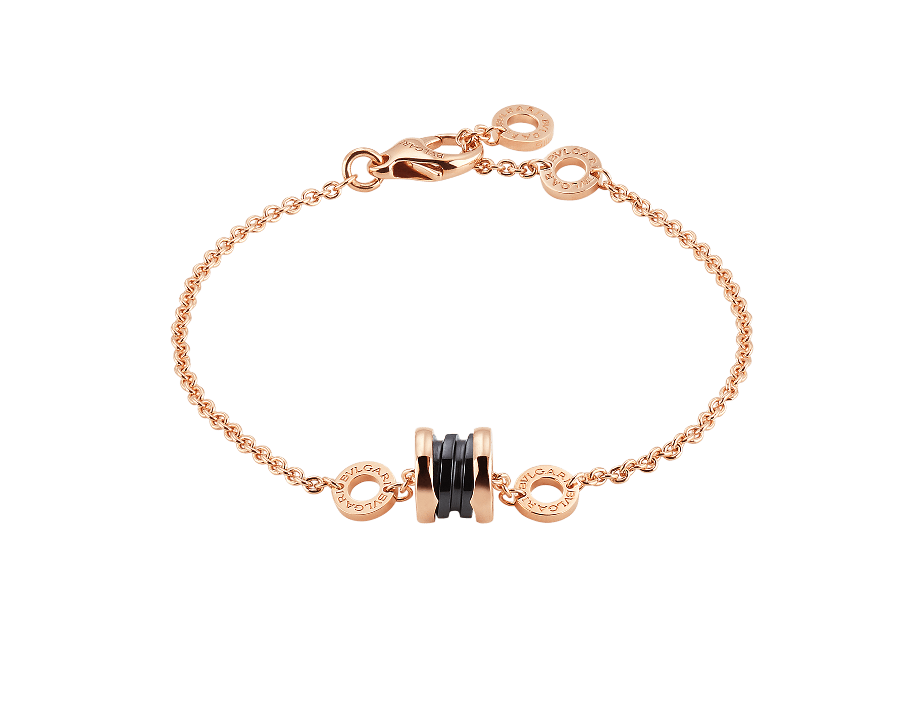 B.zero1 soft bracelet in 18 kt rose gold with 18 kt rose gold and black ceramic pendant. BR858157 image 1