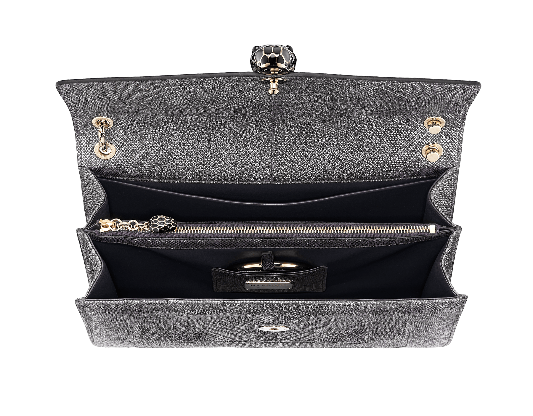 """""""Serpenti Forever"""" shoulder bag in Charcoal Diamond grey metallic karung skin with Charcoal Diamond grey nappa leather internal lining. Tempting snakehead closure light gold plated brass enriched with black and glitter Hawk's Eye grey enamel and black onyx eyes. 1089-MK image 2"""