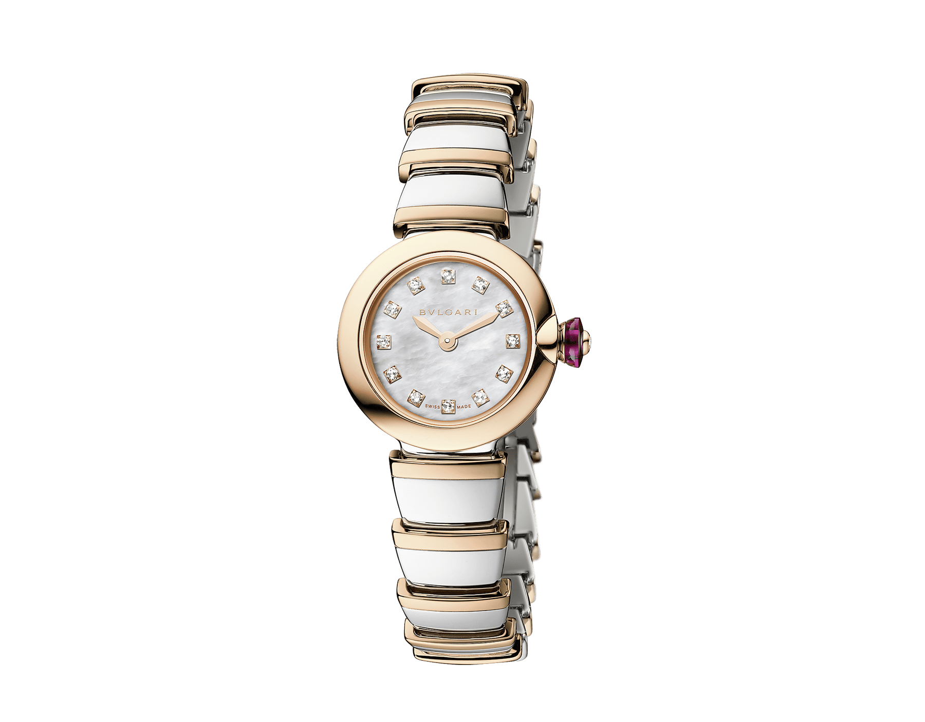 Montre Piccola Lvcea avec boîtier en acier inoxydable, lunette en or rose 18 K, cadran en nacre blanche, index sertis de diamants, bracelet en or rose 18 K et acier inoxydable. 103048 image 1
