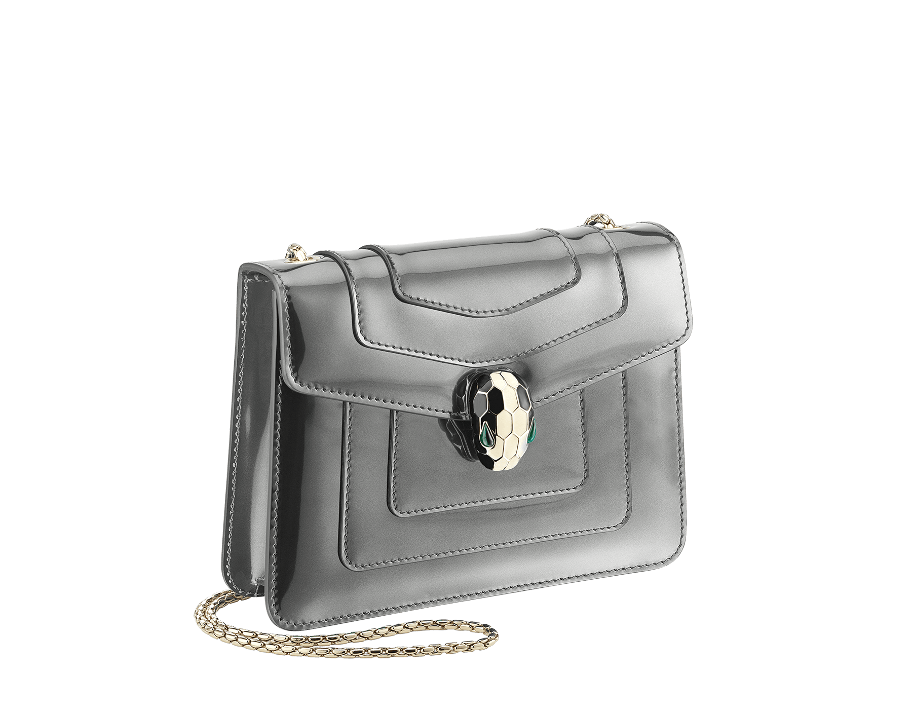 Flap cover bag Serpenti Forever in forest emerald brushed metallic calf leather. Brass light gold plated tempting snake head closure in black and white enamel, with eyes in green malachite. 422-BMCLa image 2
