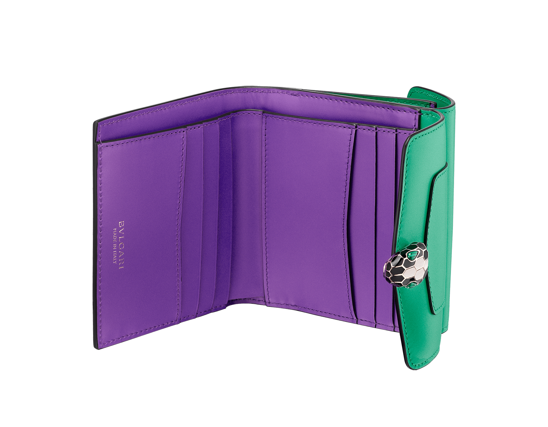 Serpenti Forever square compact wallet in daisy topaz and crystal rose calf leather. Iconic snakehead stud closure in black and white agate enamel, with green malachite eyes. SEA-WLT-COMPACT-3Fa image 2
