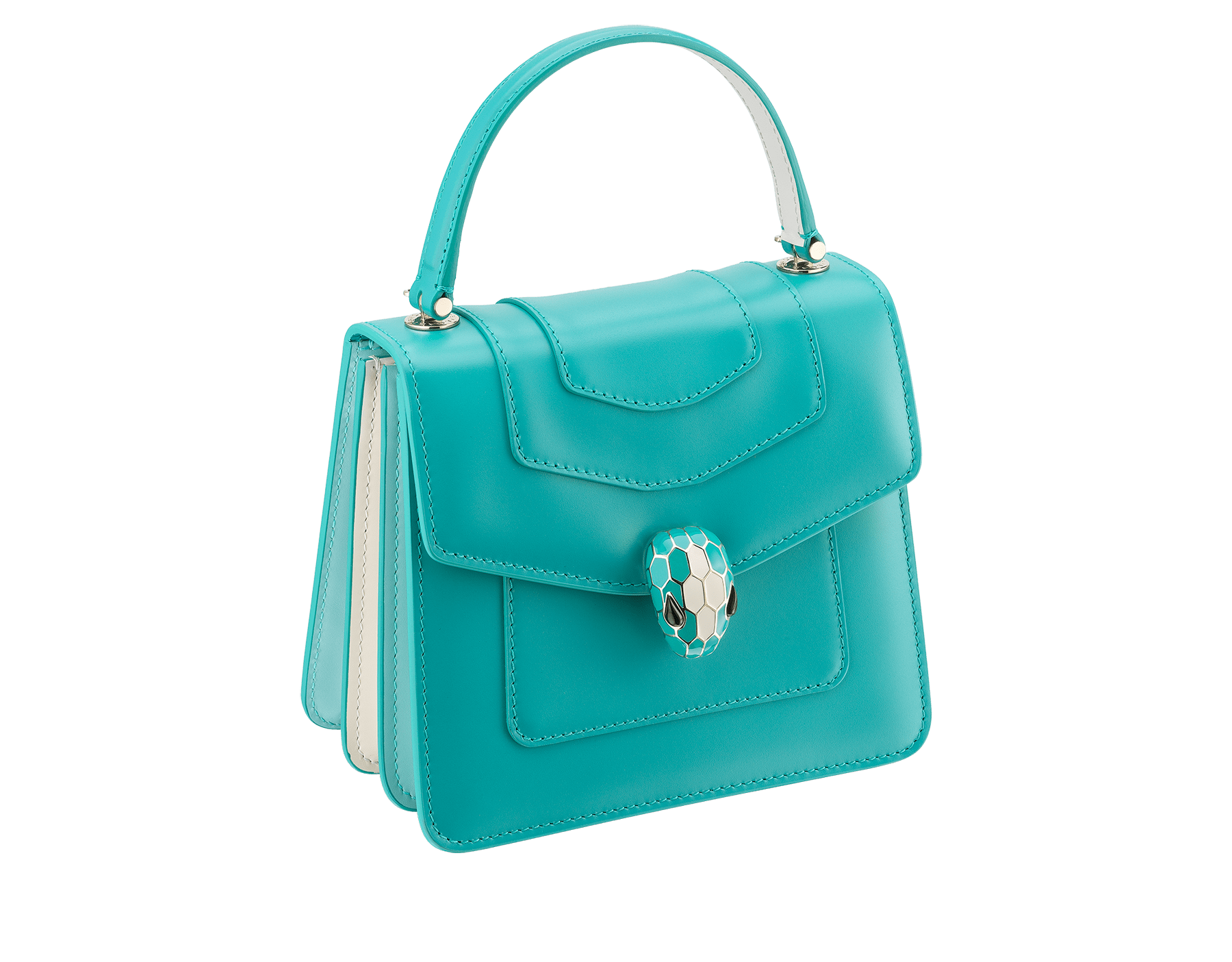 """Serpenti Forever "" crossbody bag in arctic jade calf leather body and glacier turquoise and white agate calf leather sides. Iconic snakehead closure in light gold plated brass enriched with arctic jade and white agate enamel and black onyx eyes. 288772 image 2"