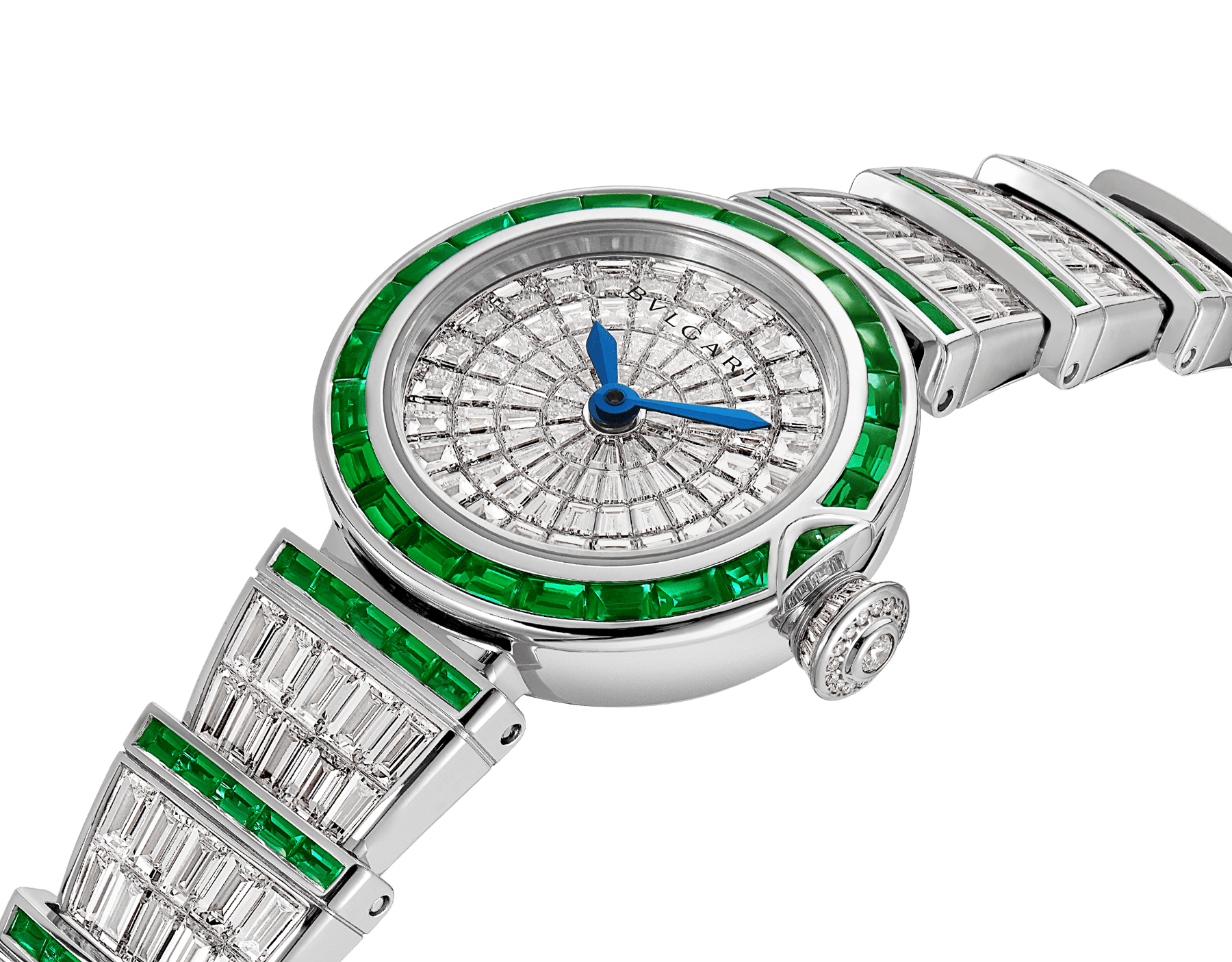 LVCEA watch in 18kt white gold case and bracelet, both set with baguette diamonds and emeralds and full diamond dial. 102466 image 2
