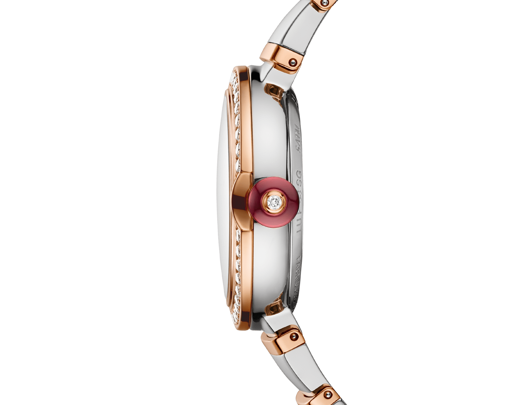 LVCEA watch in 18kt rose gold and stainless steel case and bracelet, set with diamonds on the bezel, and white mother-of-pearl dial with diamond indexes. 102476 image 4