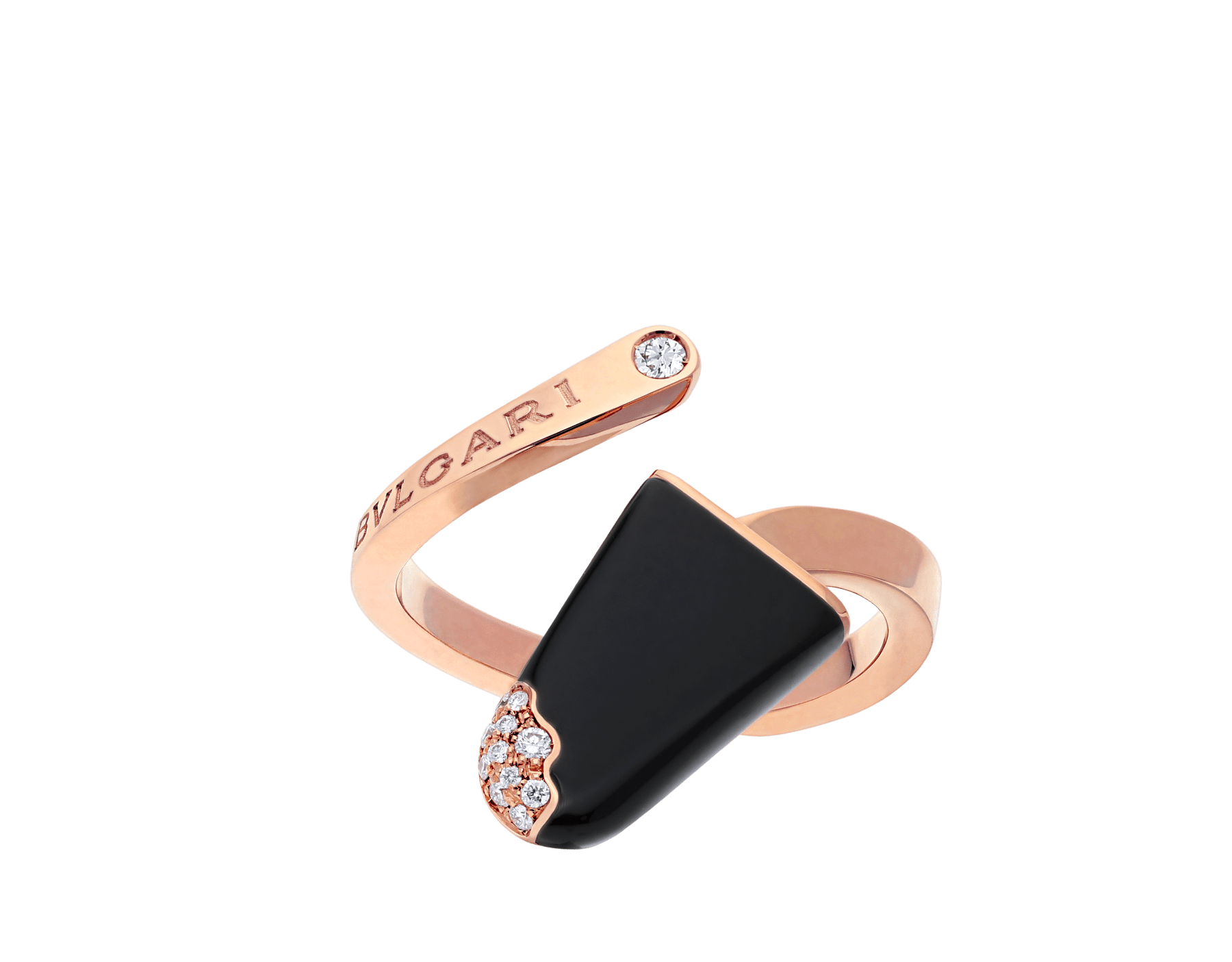 BVLGARI BVLGARI Gelati 18 kt rose gold ring set with onyx and pavé diamonds AN858499 image 1