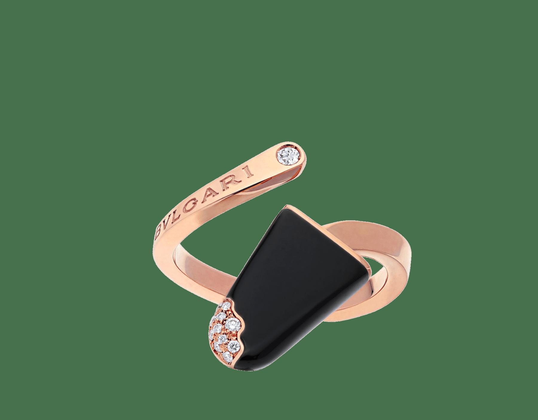 Bague BVLGARI BVLGARI Gelati en or rose 18K avec onyx et pavé diamants AN858499 image 1