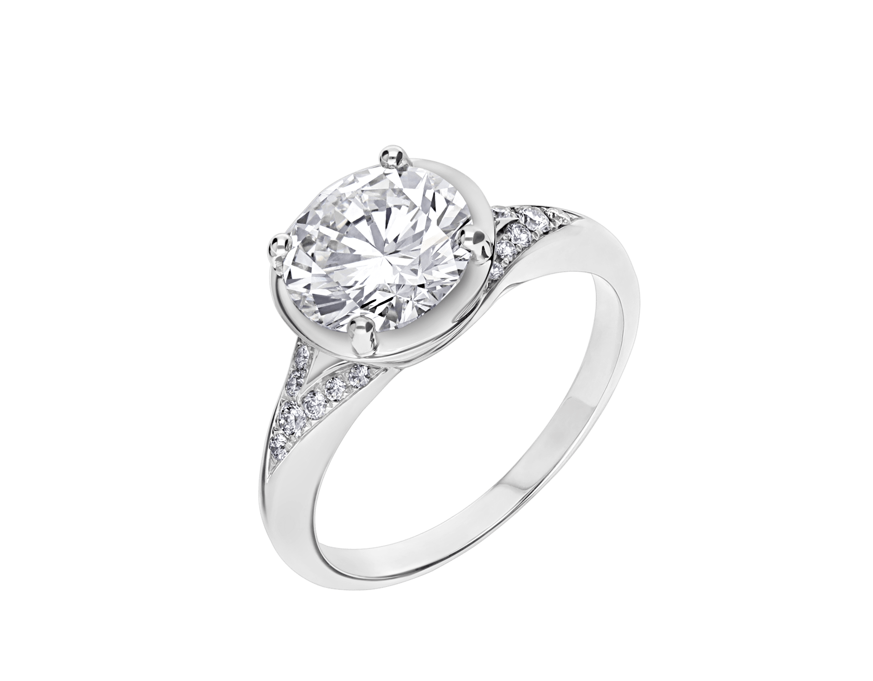 Incontro d'Amore ring in platinum with round brilliant-cut diamond and pavé diamonds. Available from 0.20 ct. As its pavé rows embrace a diamond apex, Incontro d'Amore joins two hearts as one. 355808 image 2