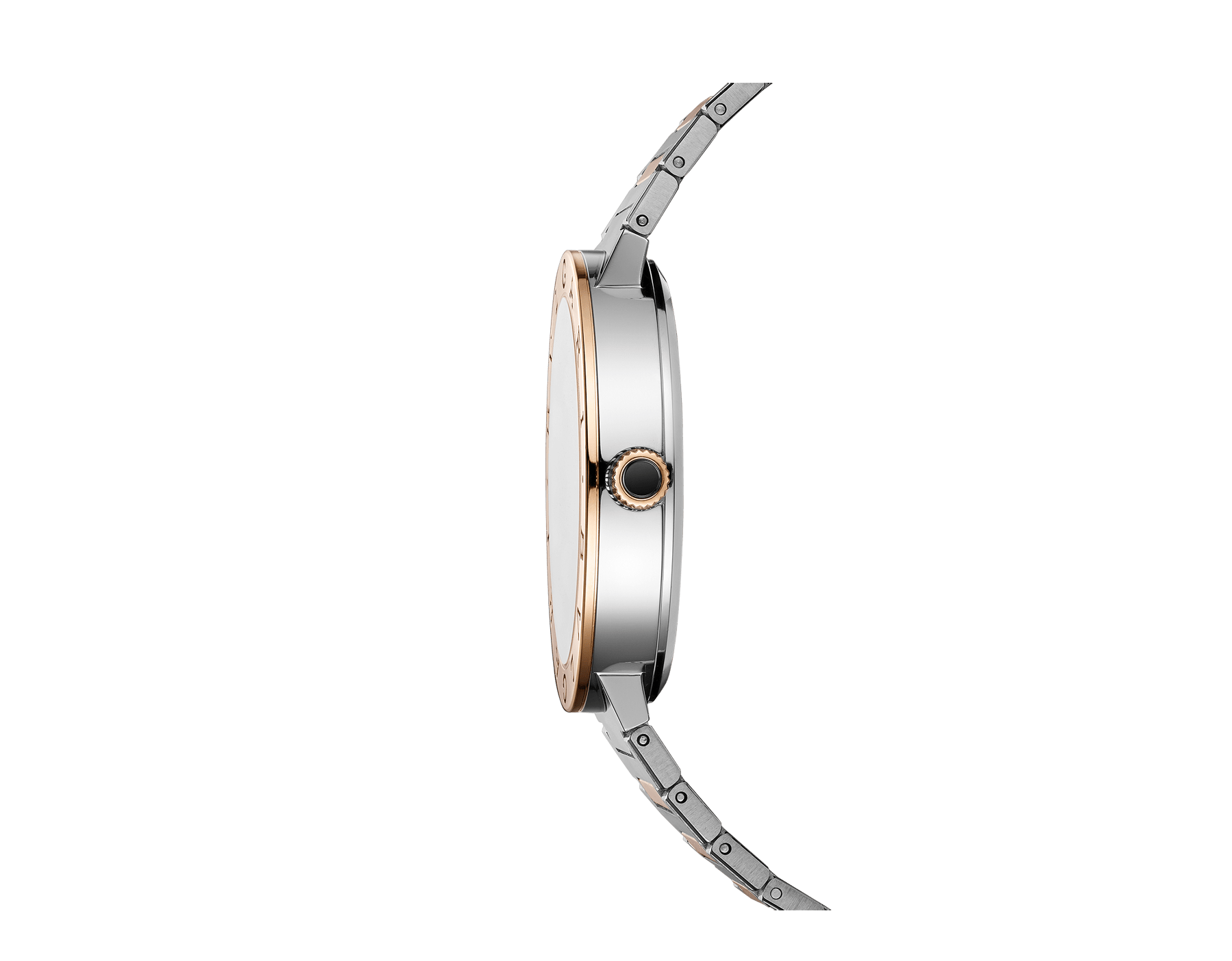 BVLGARI BVLGARI Solotempo watch with mechanical manufacture movement, automatic winding and date, stainless steel case, 18 kt rose gold bezel engraved with double logo, black dial and 18 kt rose gold and stainless steel bracelet 102930 image 2