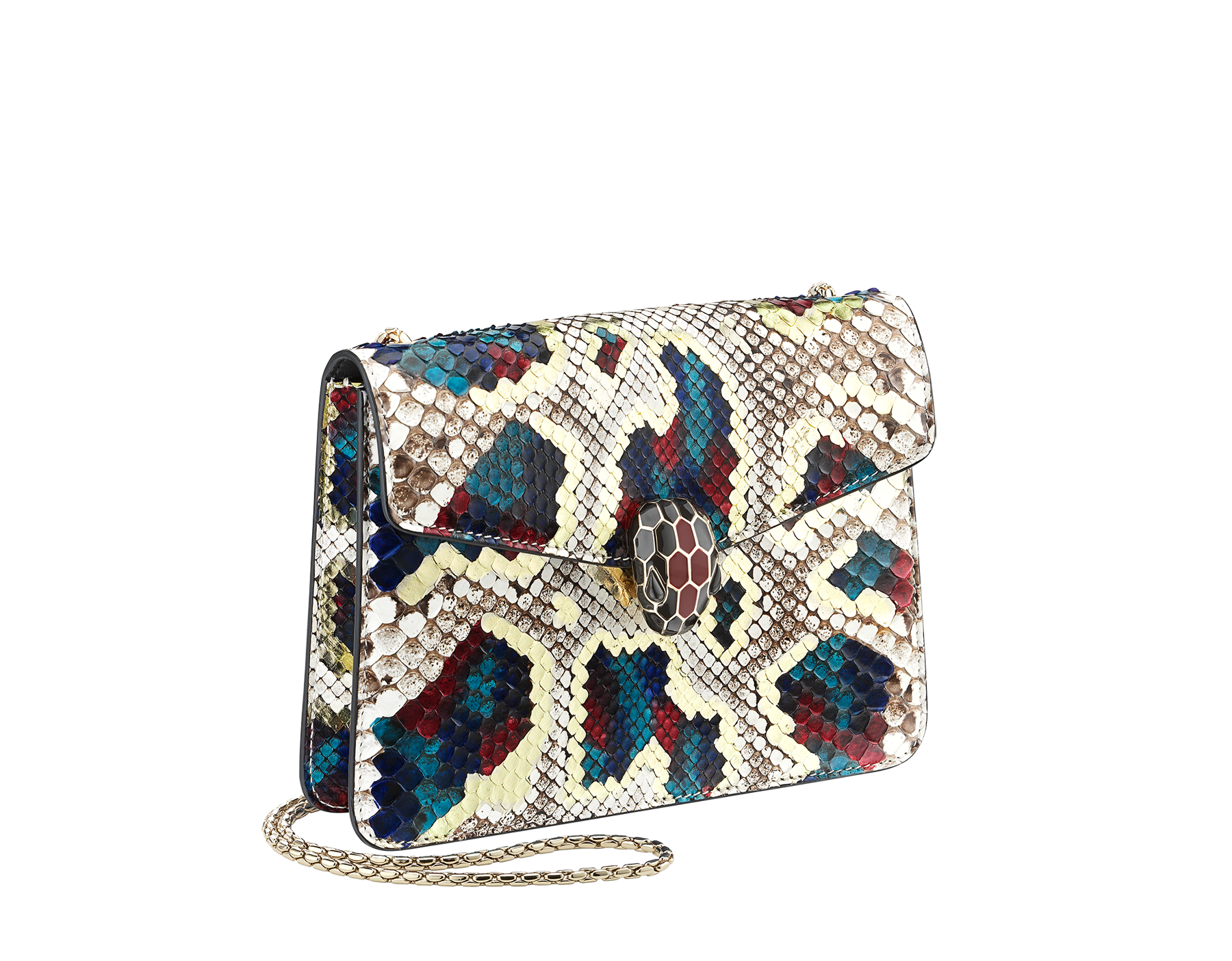 Sac à bandoulière Serpenti Forever en python « Magic Chromaline » multicolore. Fermoir emblématique Serpenti en laiton doré et émail noir et blanc avec yeux en onyx. 422-Pc image 2