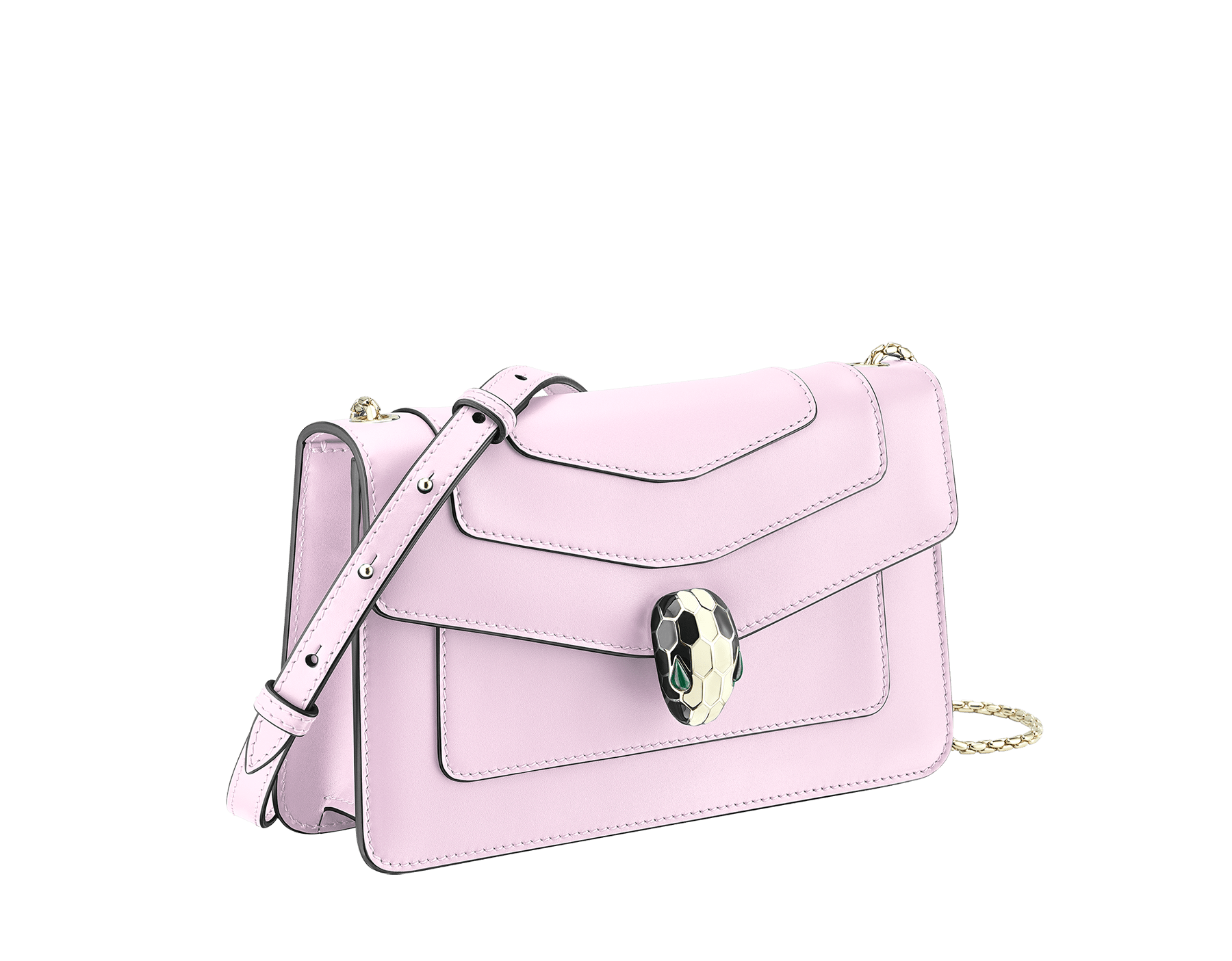 Serpenti Forever crossbody bag in sea star coral smooth calf leather. Snakehead closure in light gold plated brass decorated with black and white enamel, and green malachite eyes. 625-BCLc image 2