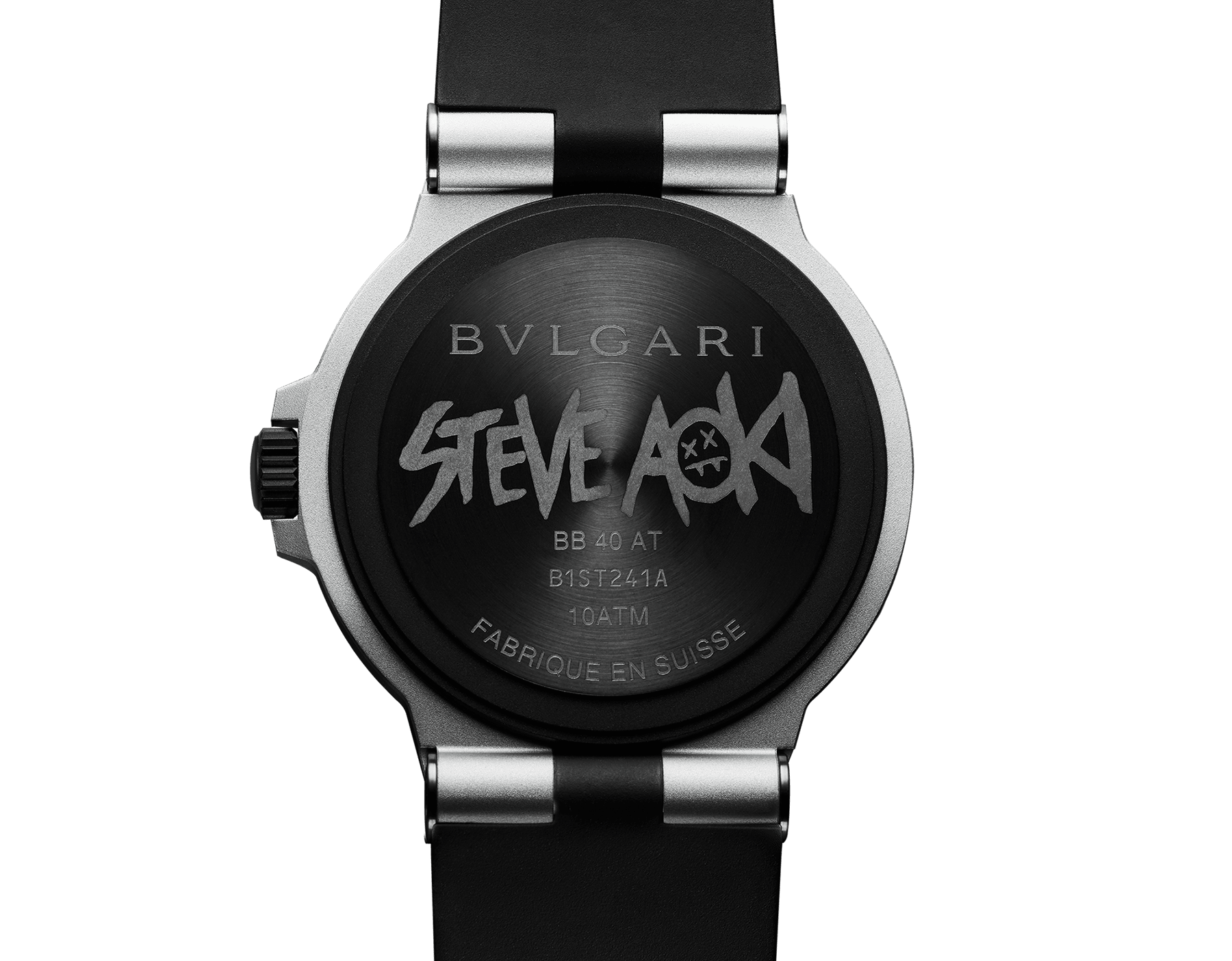 Bvlgari Aluminium Steve Aoki Limited Edition watch with mechanical movement with automatic winding, 40 mm aluminum and titanium case, black rubber bezel with BVLGARI BVLGARI engraving, white SNL dial with special Steve Aoki logo and black rubber bracelet. Water-resistant up to 100 meters. 103539 image 5