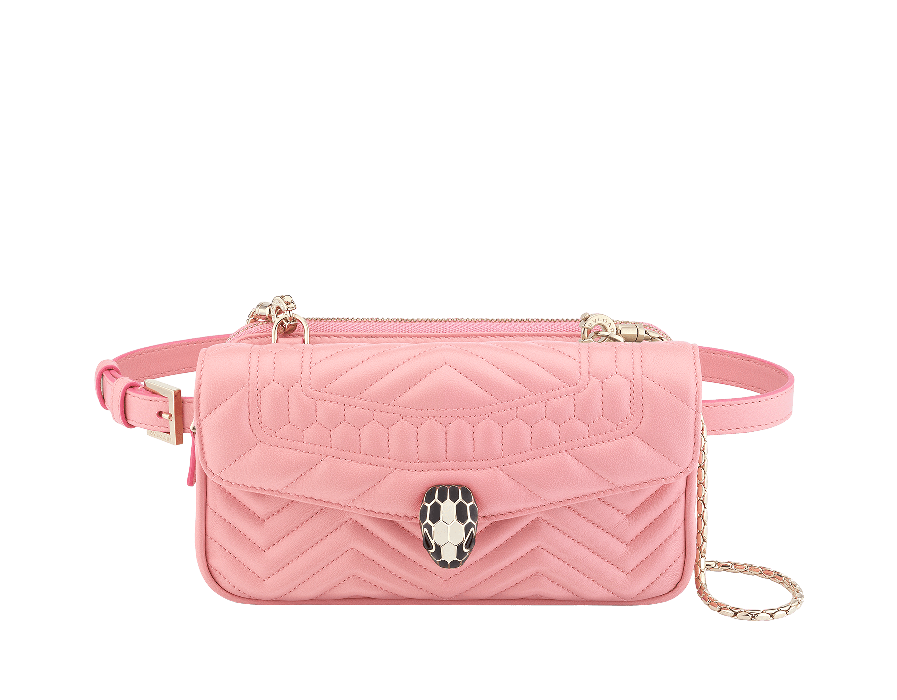 Belt Bag Serpenti Forever in candy quartz quilted chevron nappa leather. Hardware in light gold plated brass and snakehead closure in matte black and white agate enamel, with eyes in black onyx. 287853 image 1
