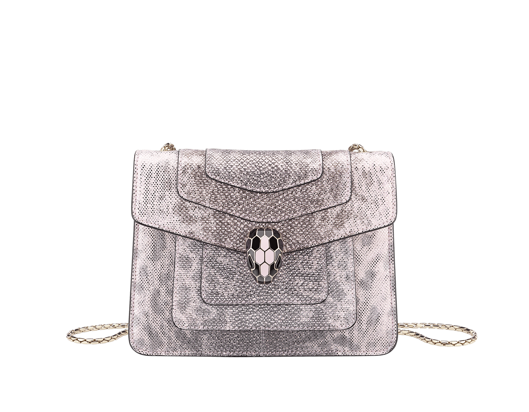 """Serpenti Forever"" crossbody bag in rosa di francia metallic karung skin. Iconic snakehead closure in light gold plated brass embellished with black and glitter rosa di francia enamel and black onyx eyes. 288781 image 1"