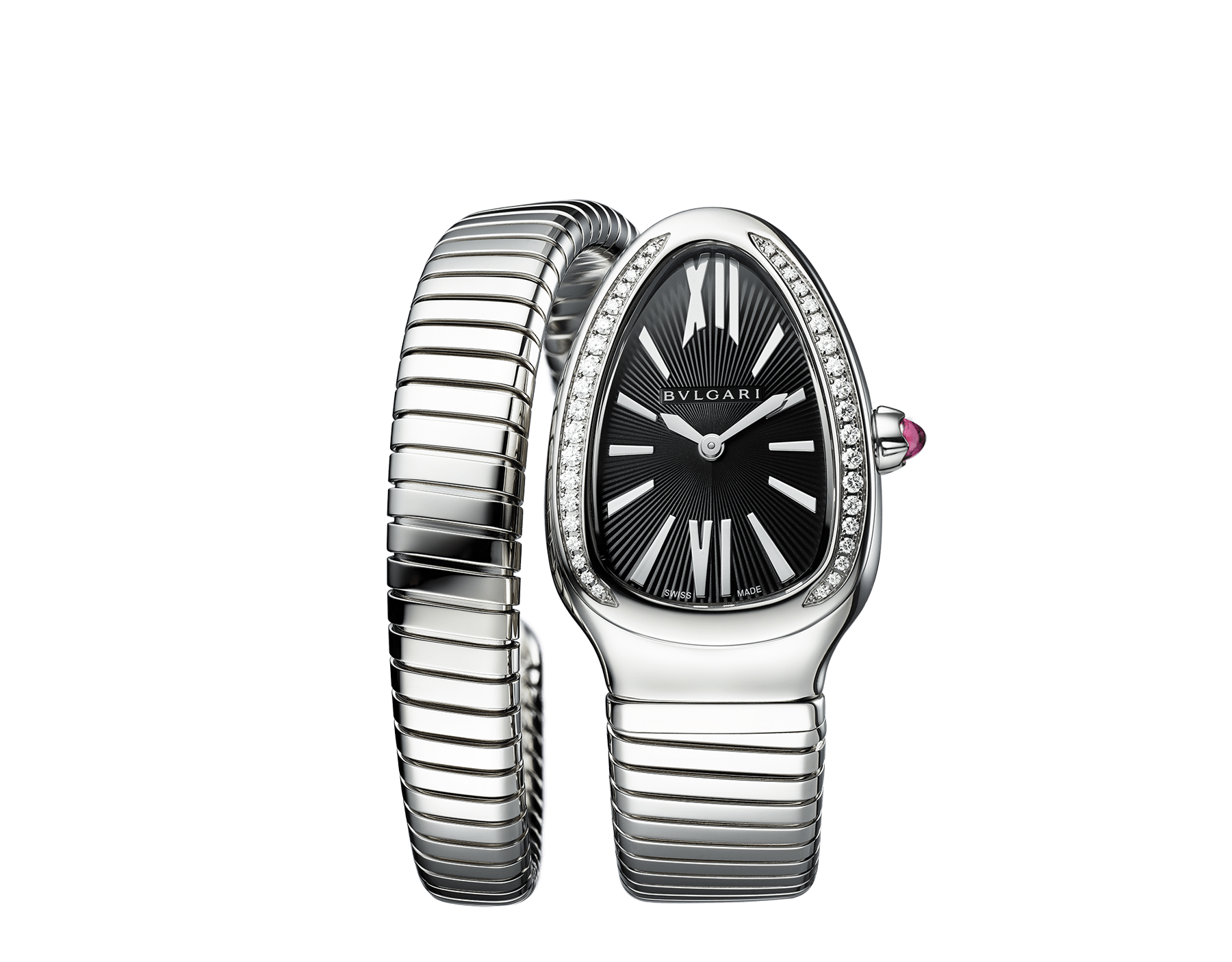 Serpenti Tubogas single spiral watch with stainless steel case and bracelet, bezel set with brilliant-cut diamonds and black dial with guilloché soleil treatment. Water-resistant up to 30 metres. Large size 103434 image 1