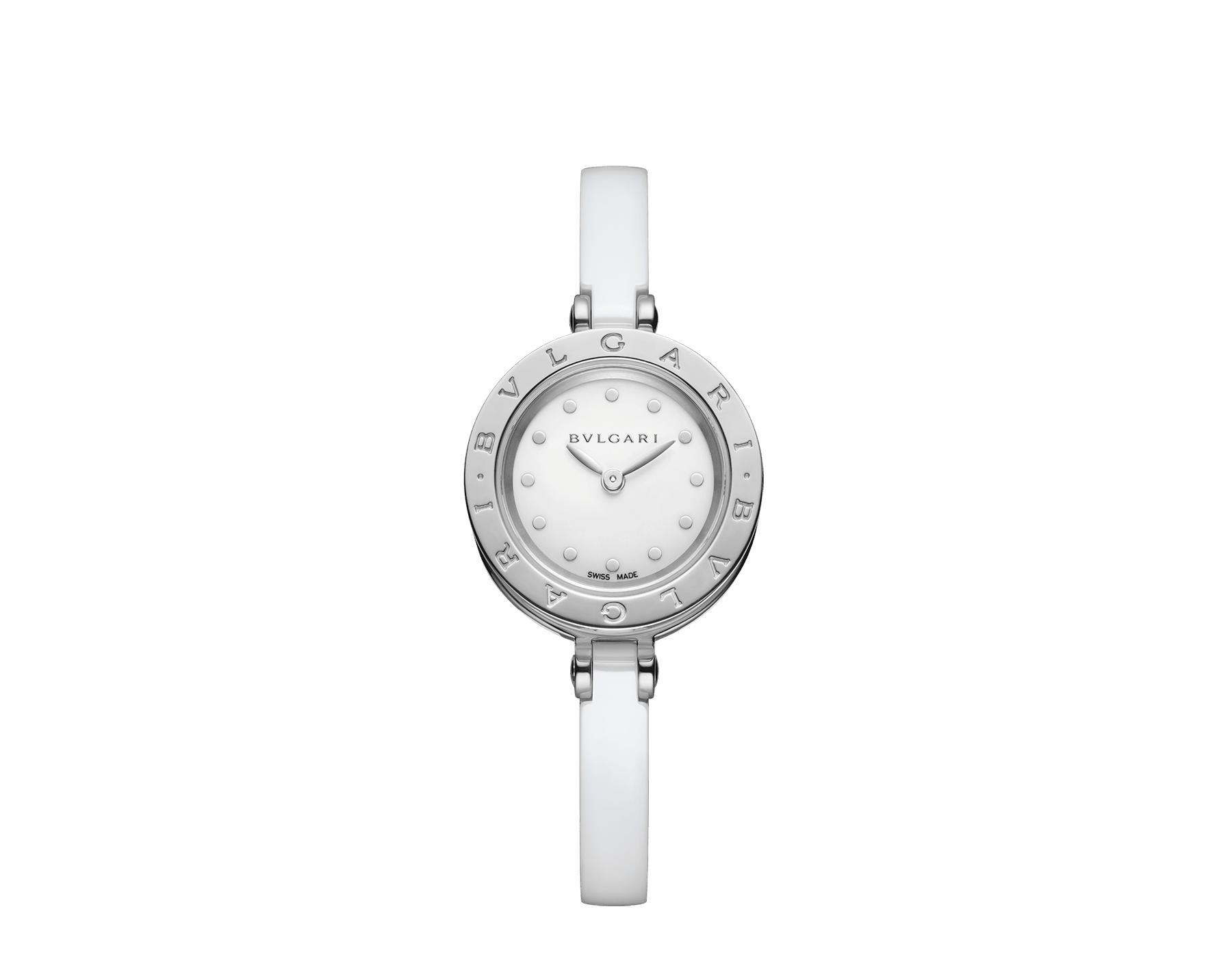 B.zero1 watch with stainless steel and white ceramic case, white lacquered dial and white ceramic bangle with stainless steel clasp. B01watch-white-white-dial image 1