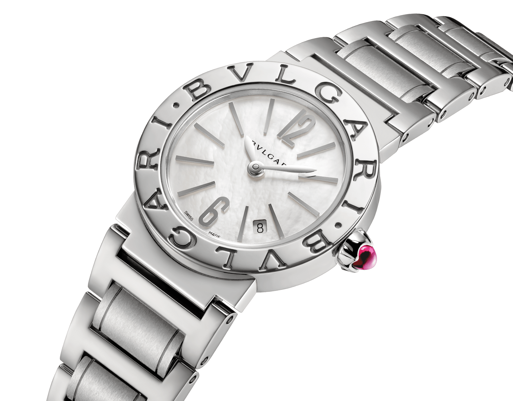 BVLGARI BVLGARI watch in stainless steel case and bracelet with white mother-of-pearl dial and date indication. Small model 101885 image 2