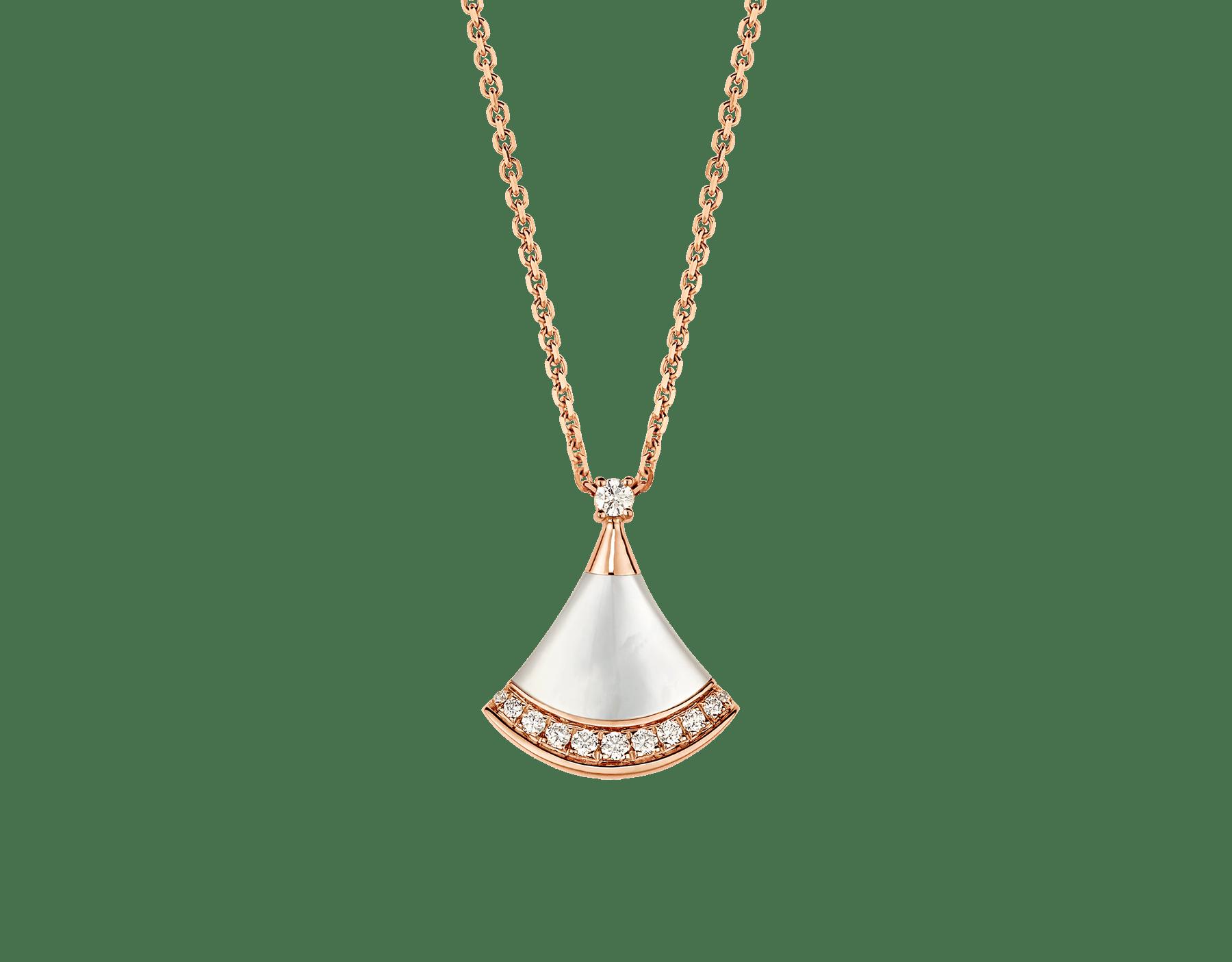 DIVAS' DREAM 18K 玫瑰金項鍊,鑲飾 1 顆鑽石(0.03 克拉)、珍珠母貝和密鑲鑽石(0.10 克拉)。 358365 image 1