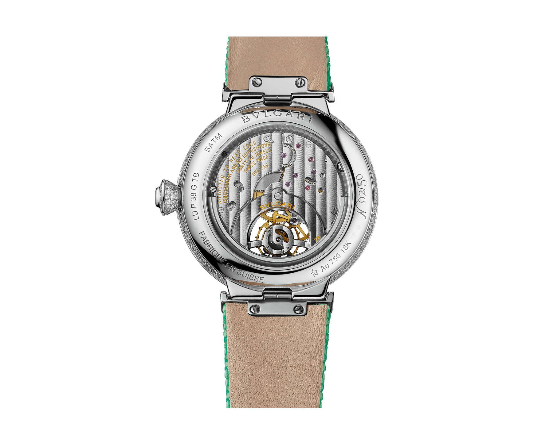Montre LVCEA Tourbillon en édition limitée avec mouvement mécanique de manufacture, remontage automatique, tourbillon transparent, boîtier en or blanc 18 K serti de diamants ronds taille brillant, cadran pavé diamants avec diamants ronds taille brillant et finition verte, bracelet en galuchat vert 103039 image 3