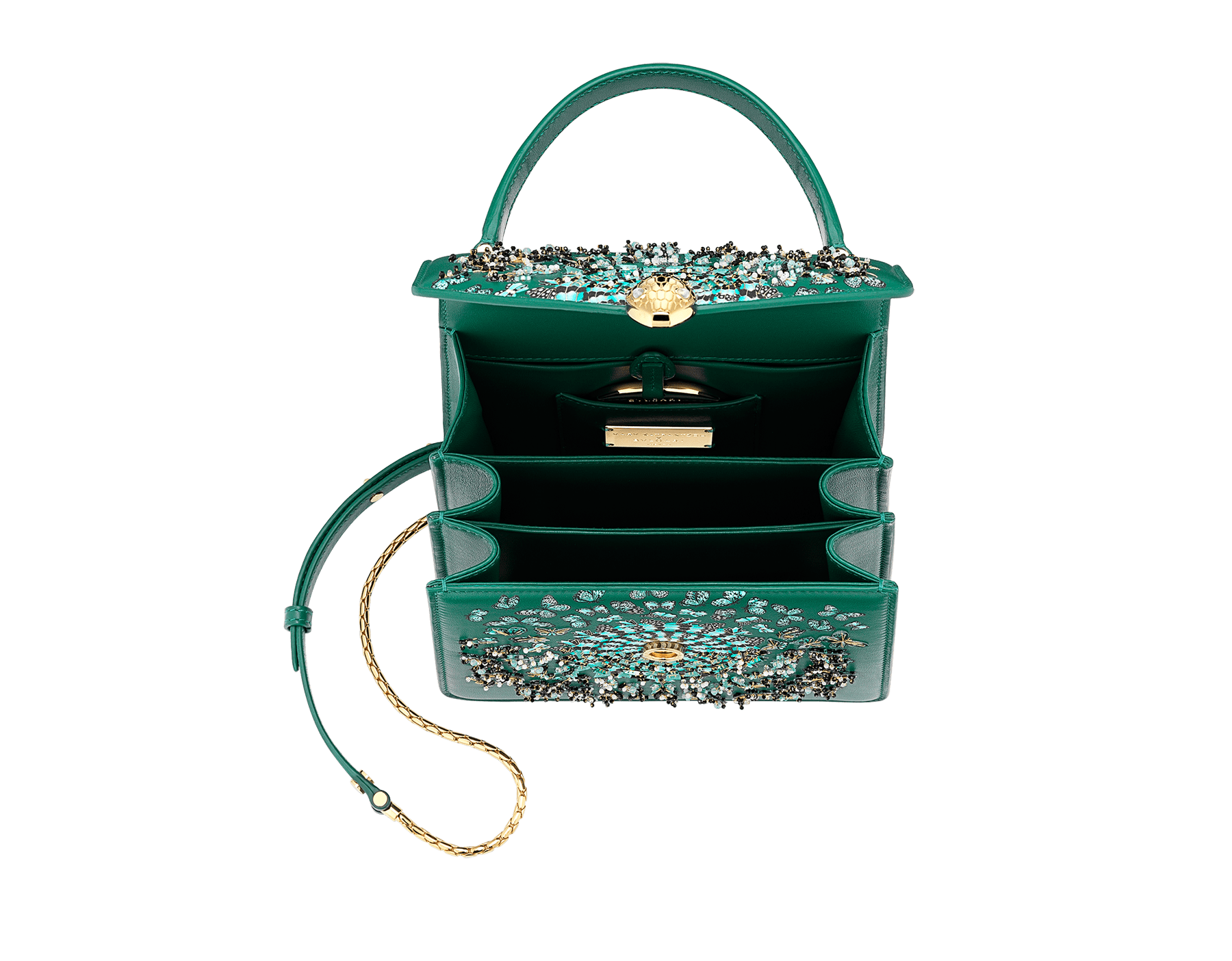 """Mary Katrantzou x Bvlgari"" top handle bag in black nappa leather, with black nappa leather inner lining. New Serpenti head closure in gold-plated brass, finished with seductive crystal eyes. Special Edition. MK-Bejewelled image 4"