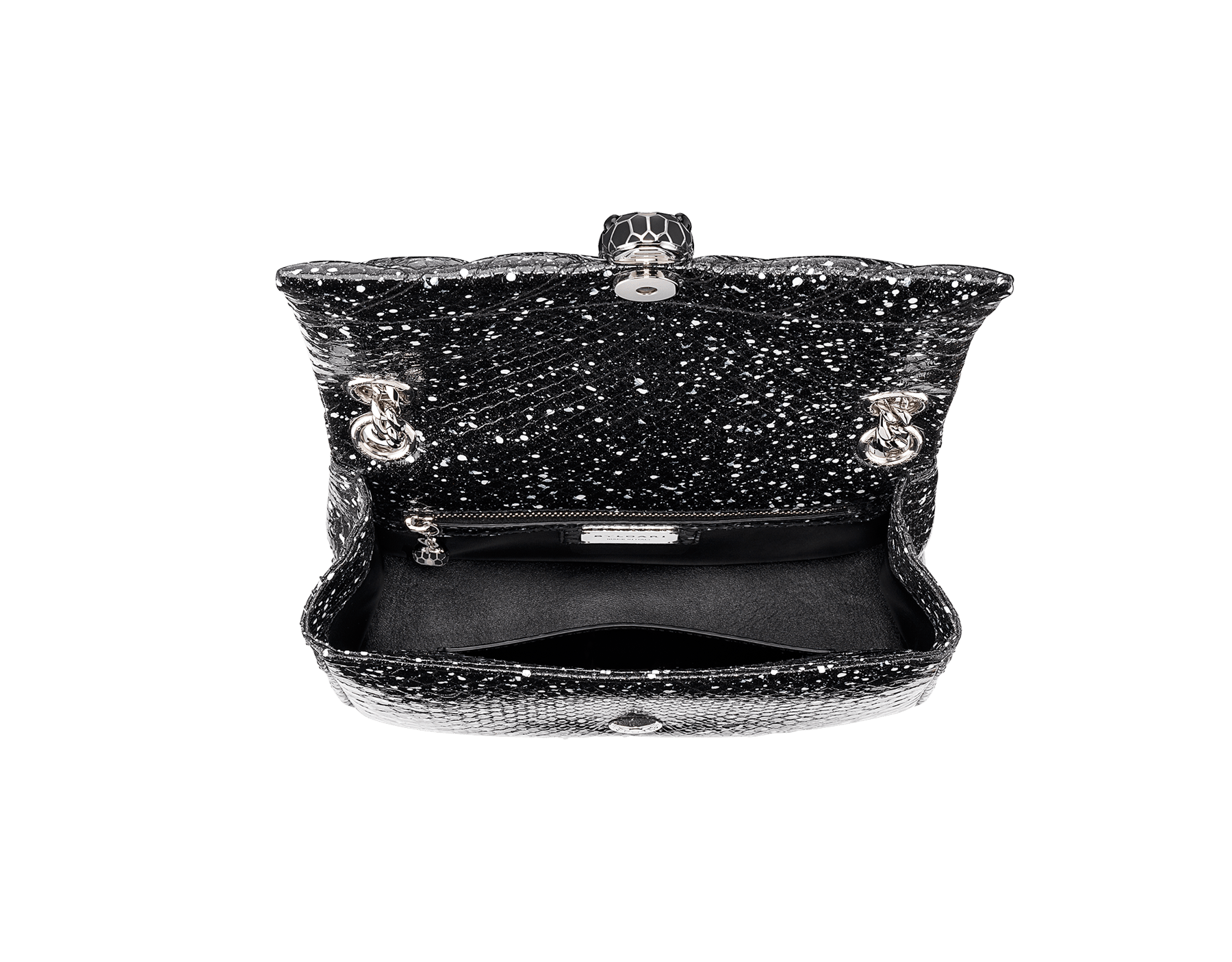 Serpenti Cabochon shoulder bag in soft matelassé black and white cosmic python skin with graphic motif. Snakehead closure in palladium plated brass decorated with matte black and white enamel, and black onyx eyes. 288621 image 4