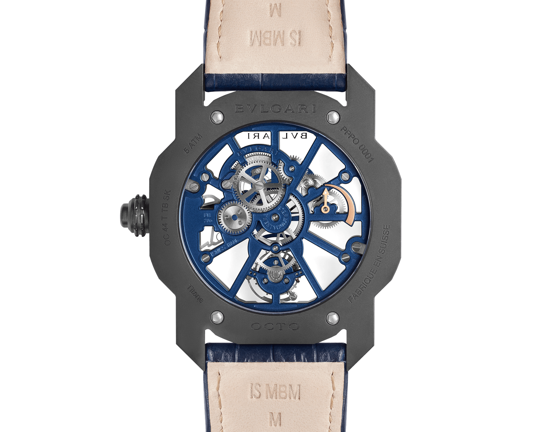 Octo Roma Tourbillon Sapphire watch with mechanical manufacture movement, flying tourbillon, manual winding, titanium case with black Diamond Like Carbon treatment, sapphire middle case, blue PVD calibre decorated with 18 kt rose gold indexes on the bridges and blue alligator bracelet 103154 image 4